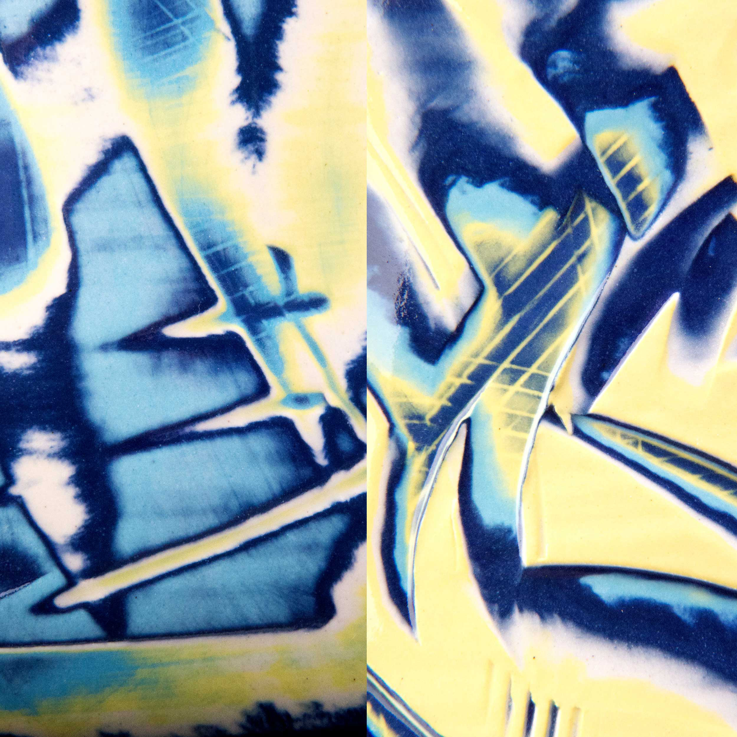 Ceramic Sgraffito Graffiti Reef Series by Rowena Gilbert