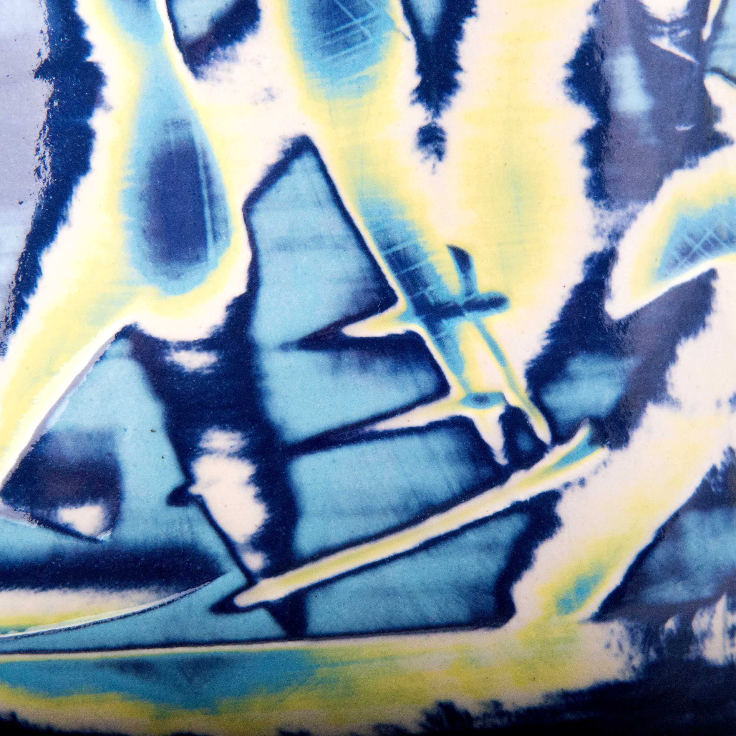 Turquoise Blue Sgraffito Ceramic Pattern by Rowena Gilbert