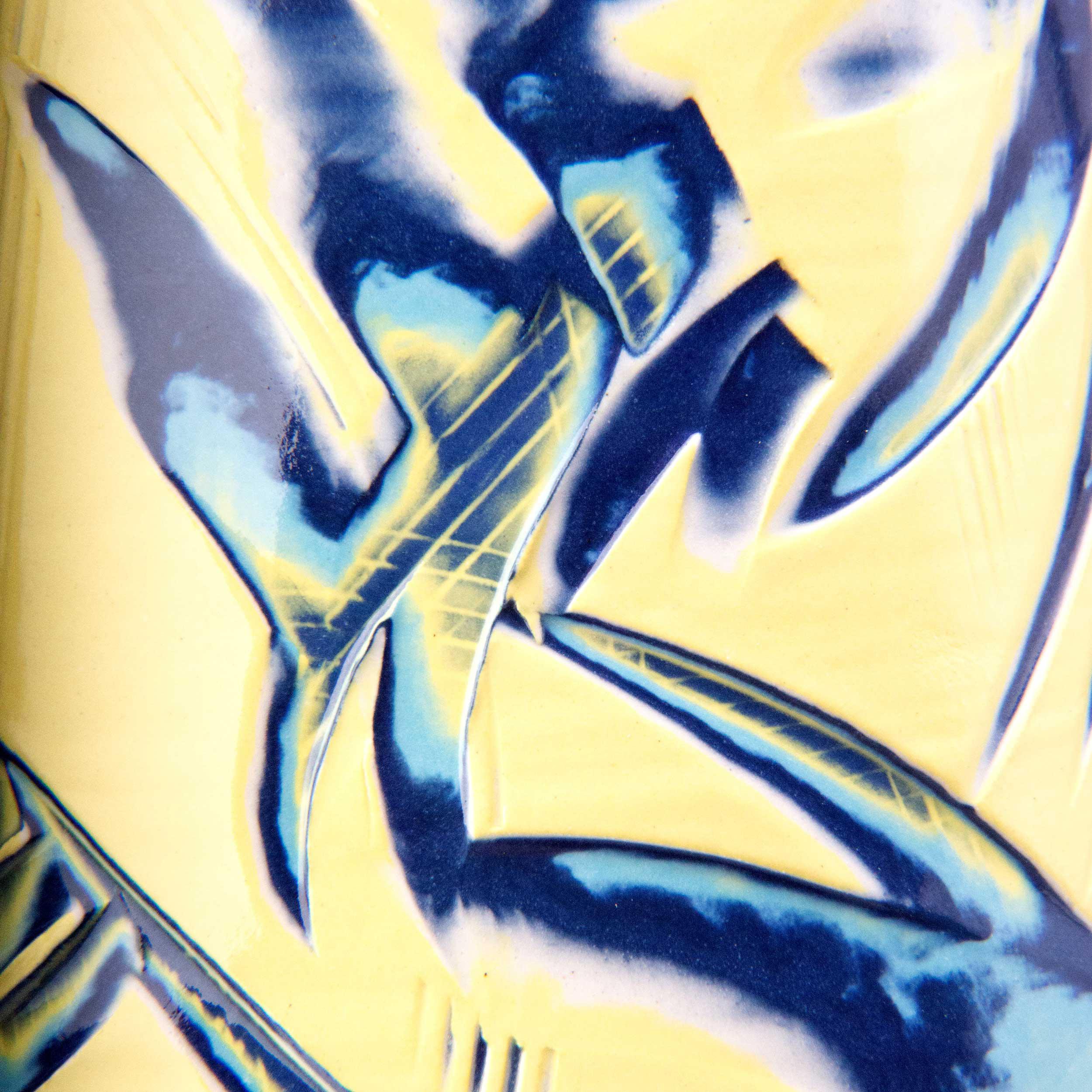 Yellow Sgraffito Ceramic Pattern by Rowena Gilbert