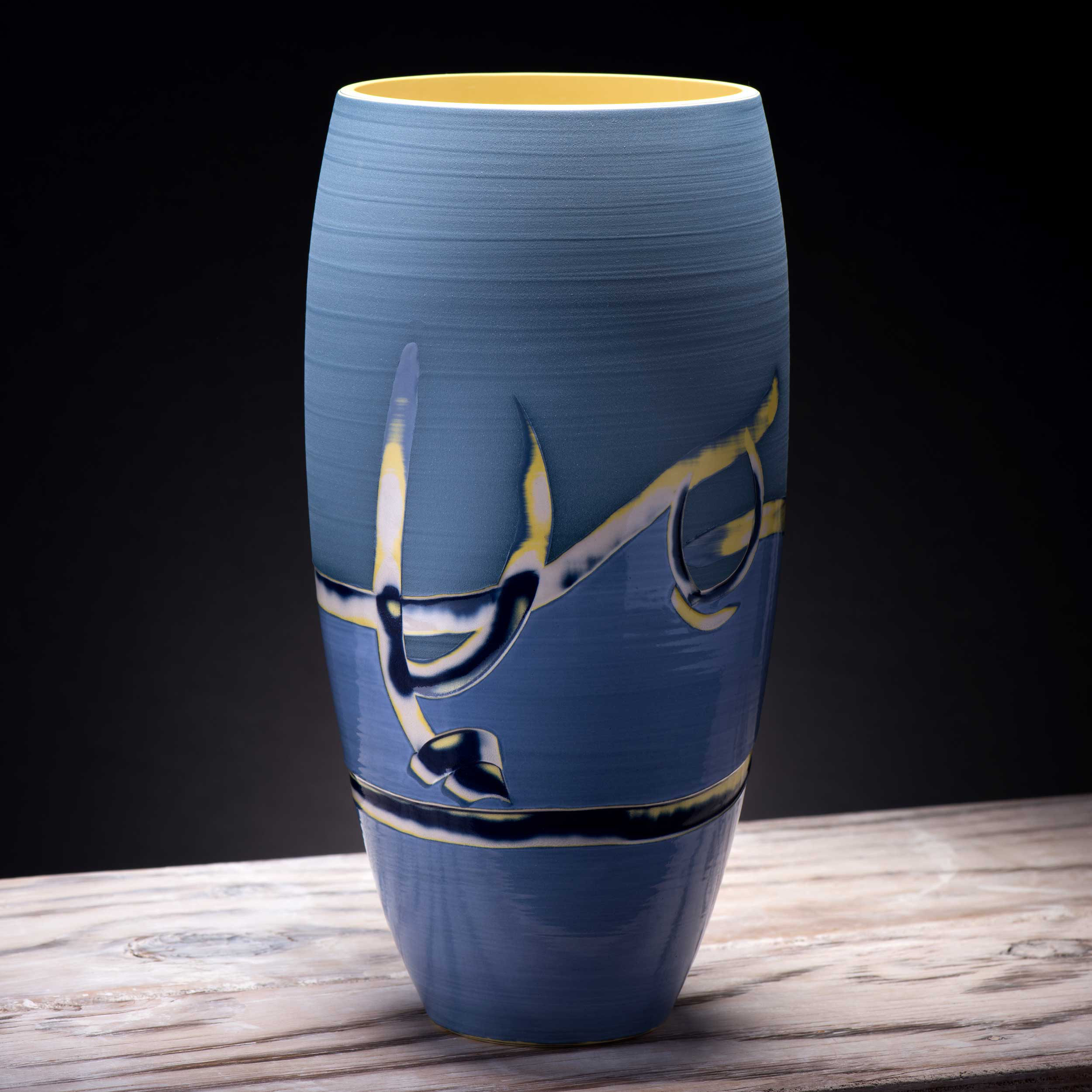 Pale Blue Yellow Coast Series Large Ceramic Vase by Rowena Gilbe