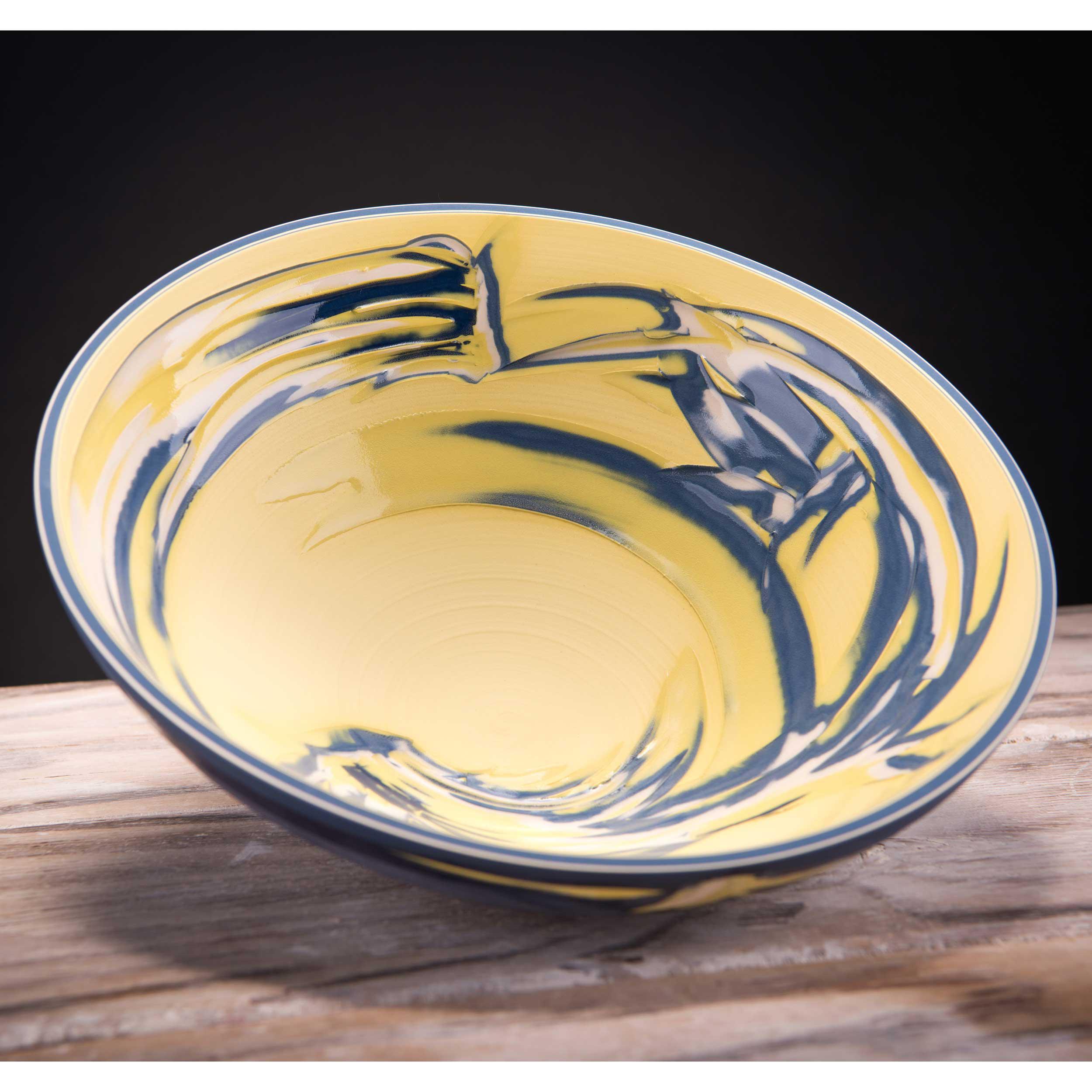 Yellow Sgraffito Ceramic Bowl Coast Series by Rowena Gilbert