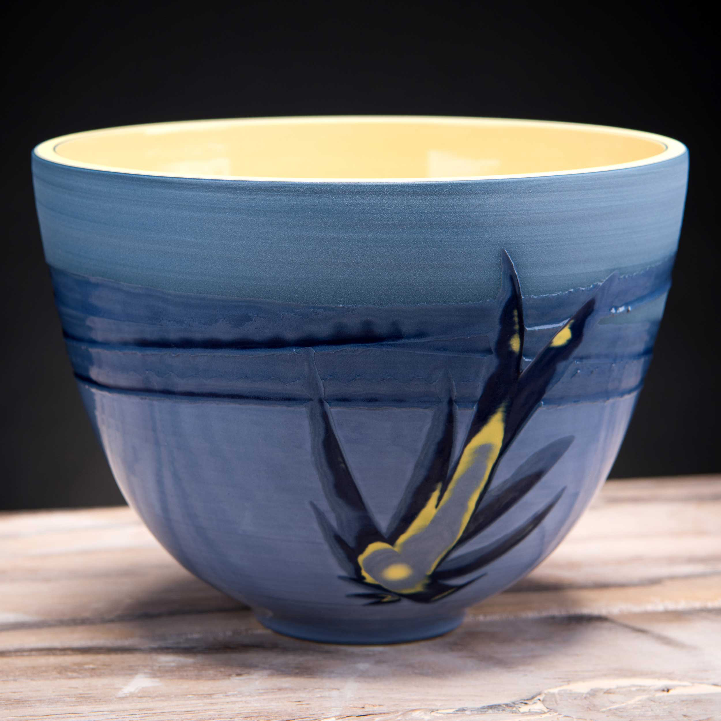 Deep Ceramic Bowl Bird Flight Sea Sky Design by Rowena Gilbert