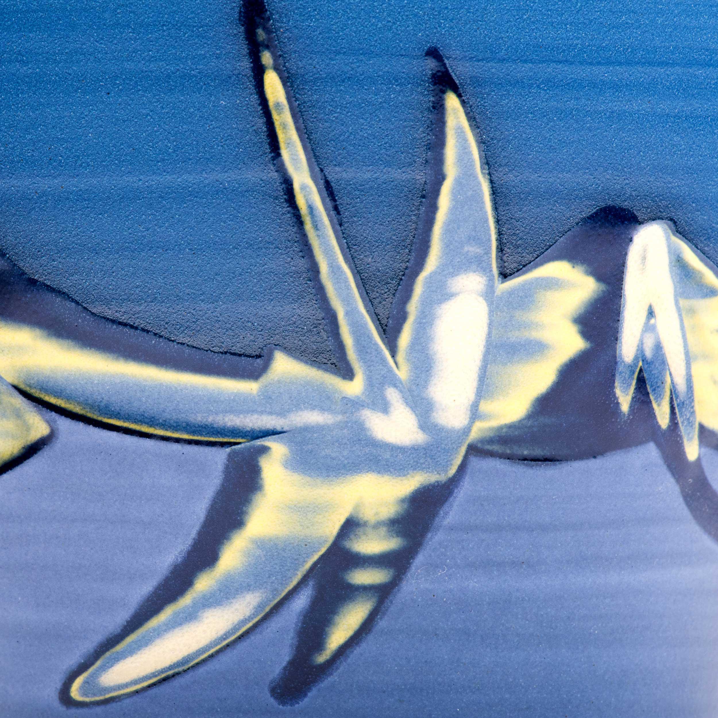 Sgraffito Blue Ceramic Coast Vase Detail by Rowena Gilbert