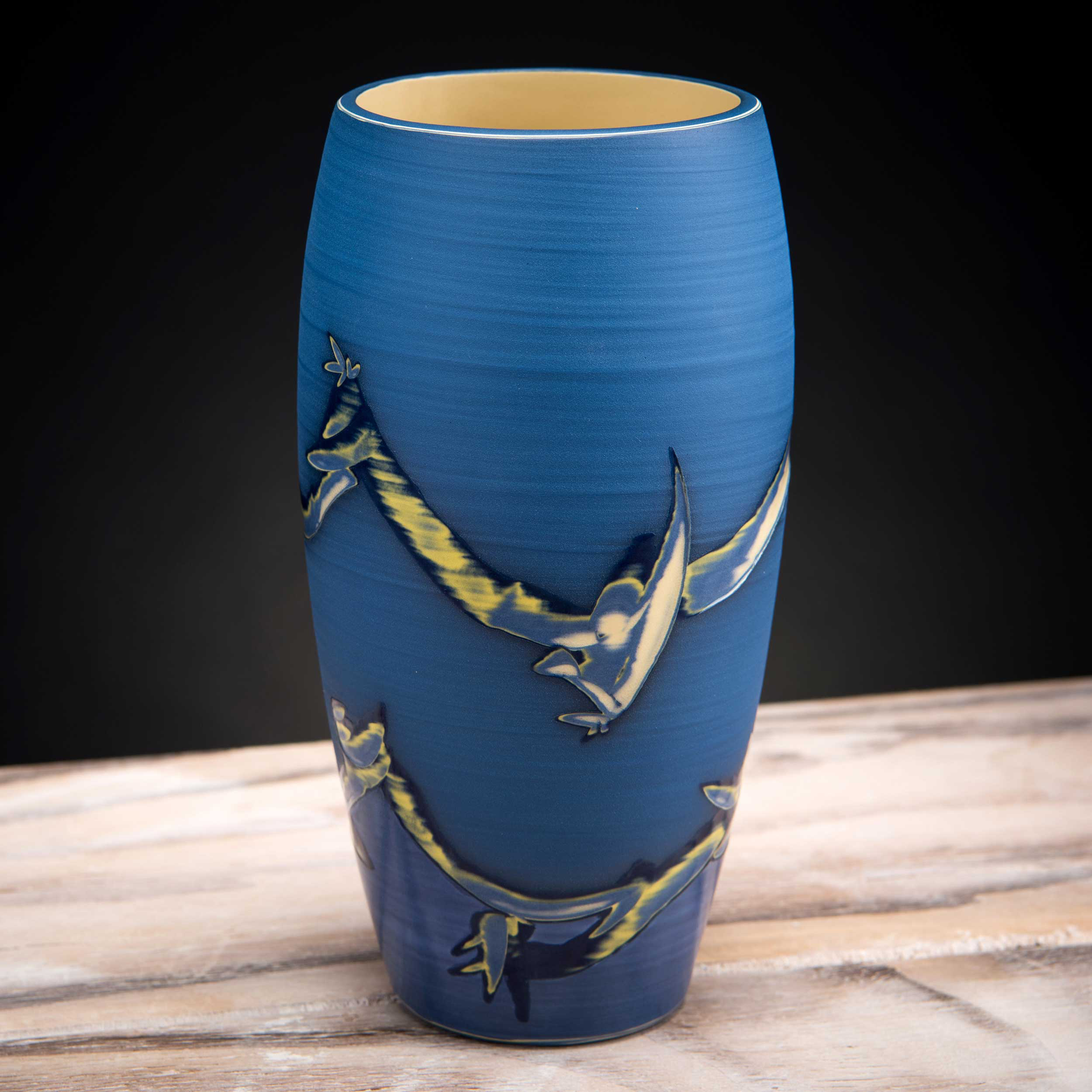 Blue Ceramic Vase Coast Series by Rowena Gilbert