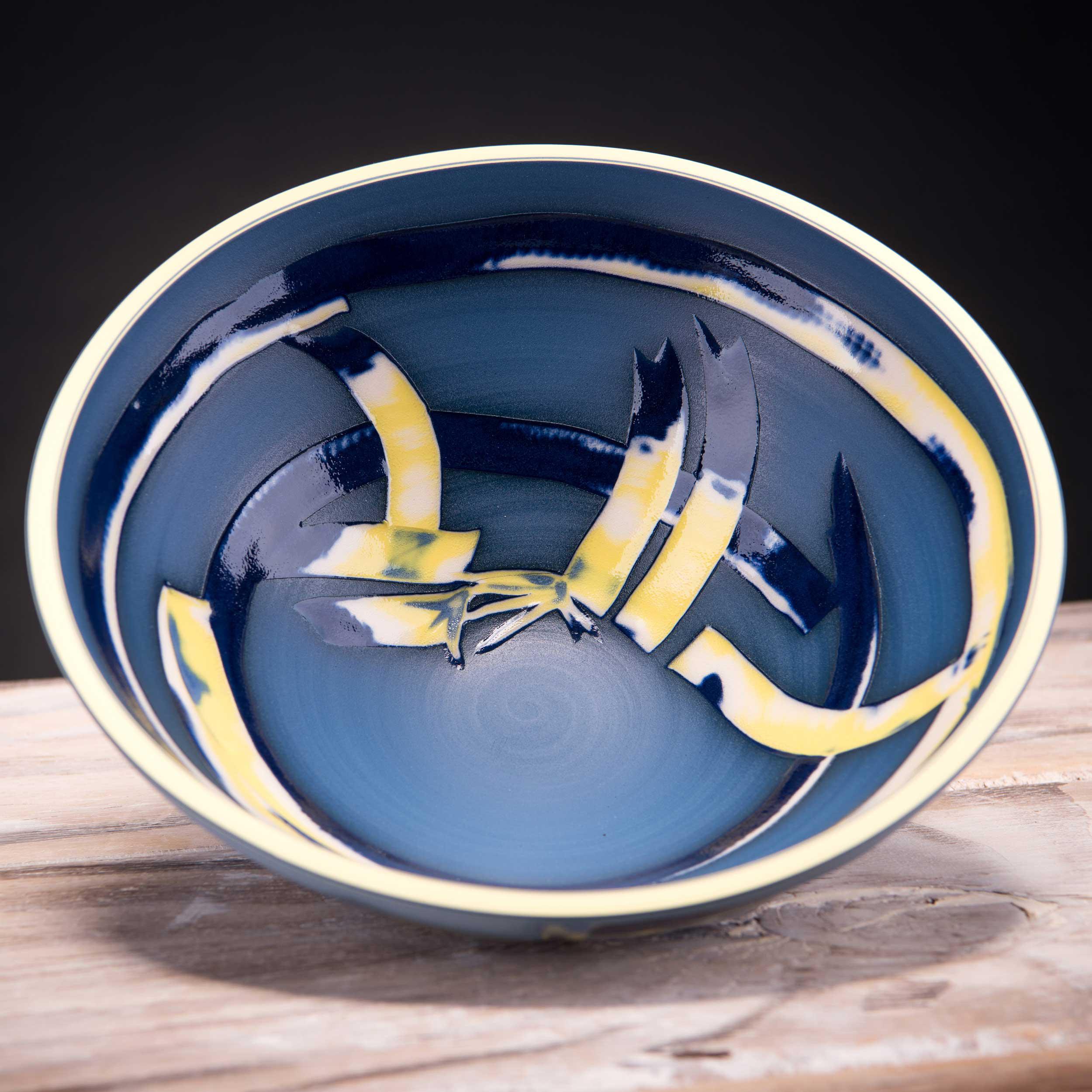Deep Blue Low Centre Bowl Coast Series by Rowena Gilbert