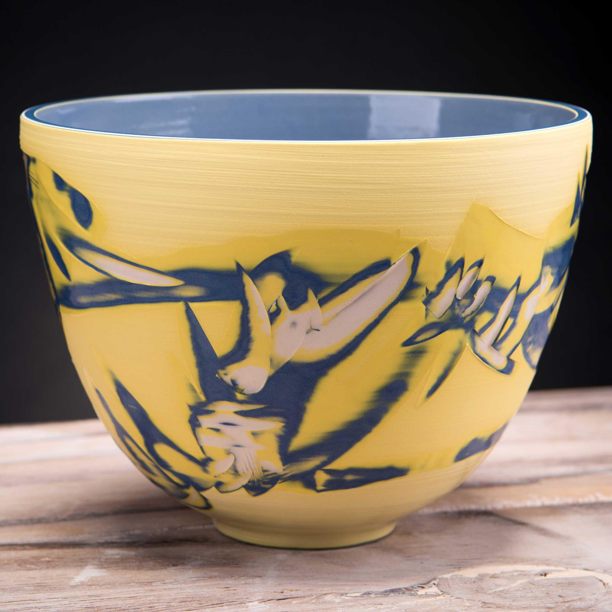 Yellow Ceramic Deep Centre Bowl Coast Series by Rowena Gilbert