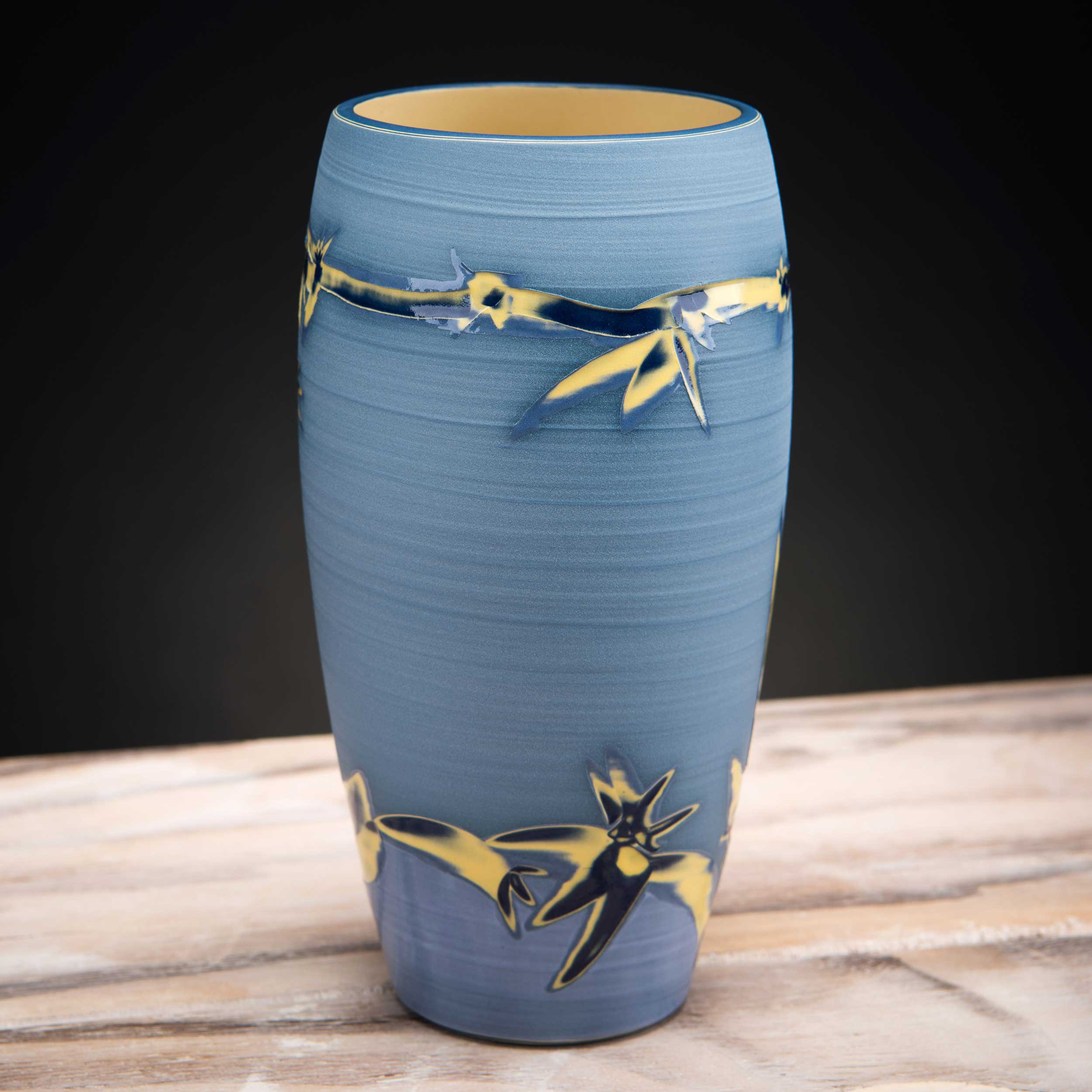 Coast Inspired Blue Ceramic Vase by Rowena Gilbert