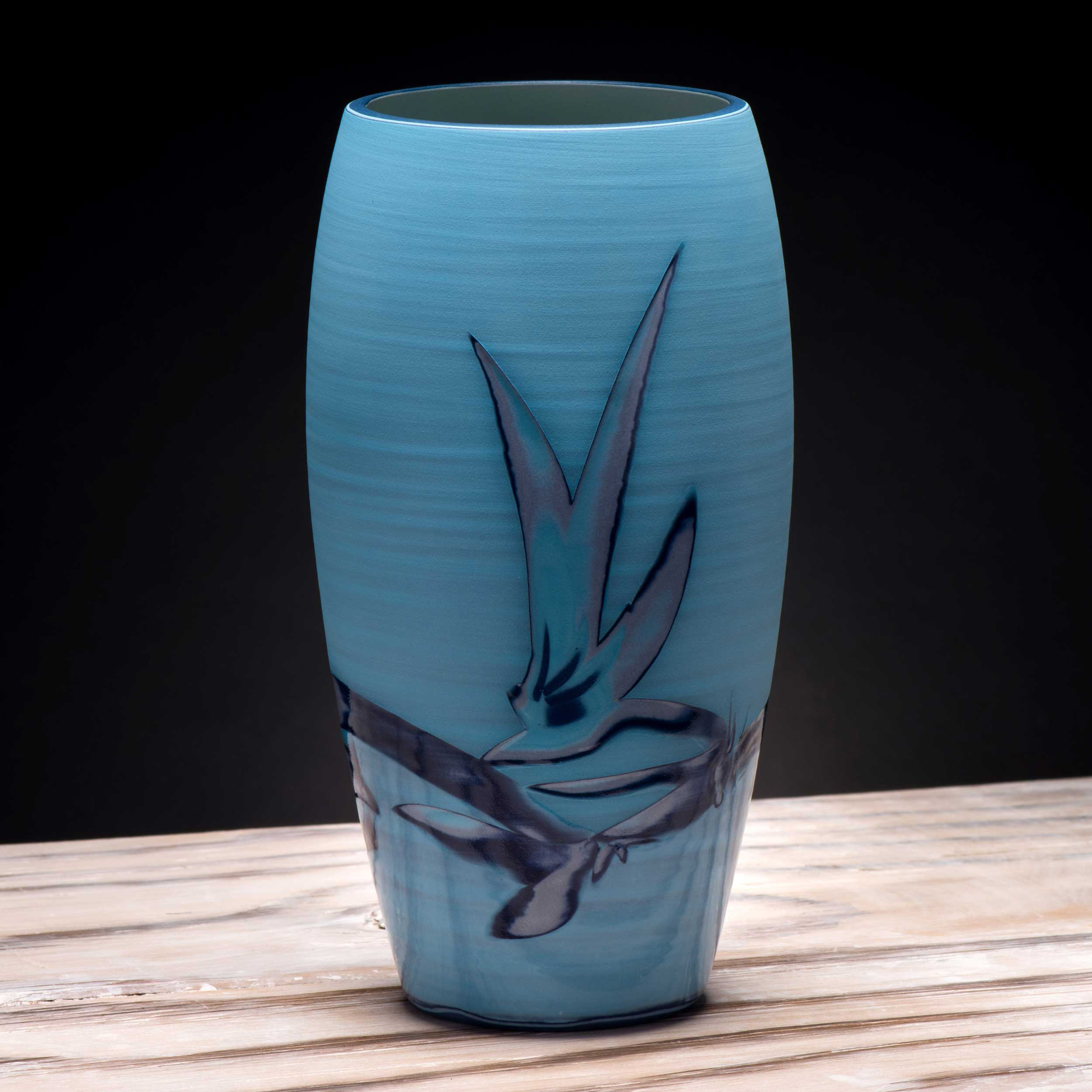 Turquoise Electric  Blue Ceramic Vase by Rowena Gilbert