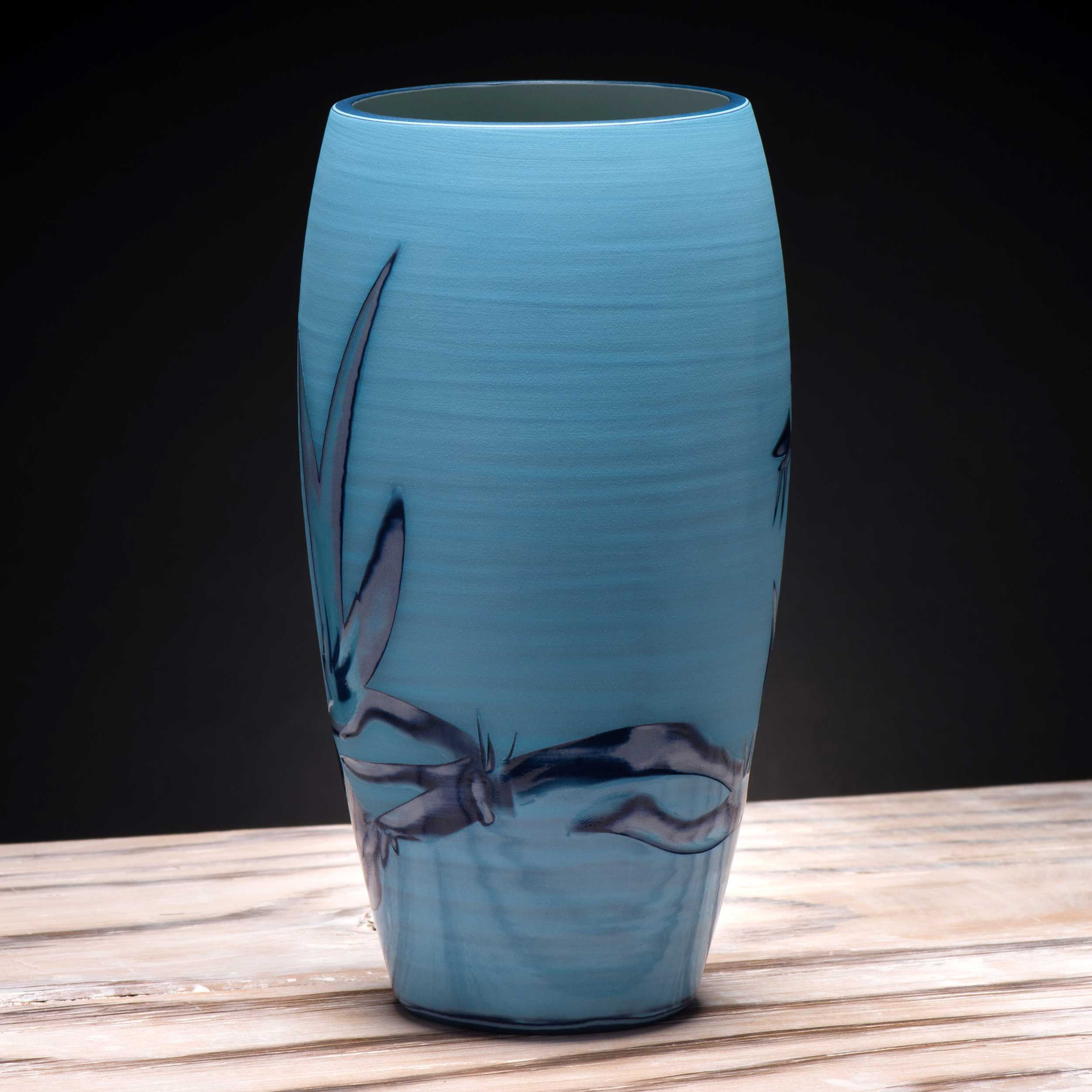 Ceramic Vase in Turquoise Electric  Blue  by Rowena Gilbert