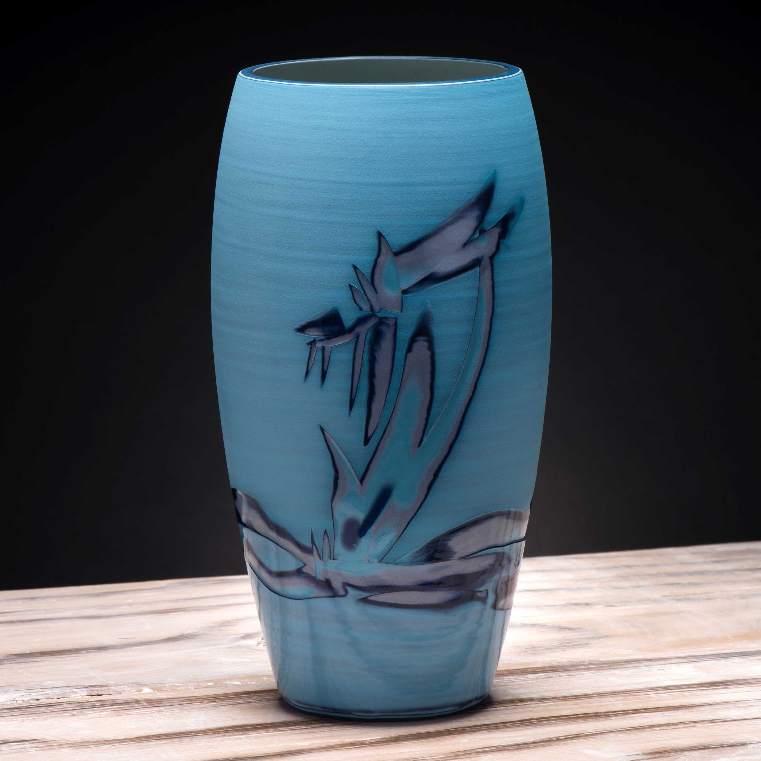 Seascape Design Turquoise Ceramic Vase by Rowena Gilbert