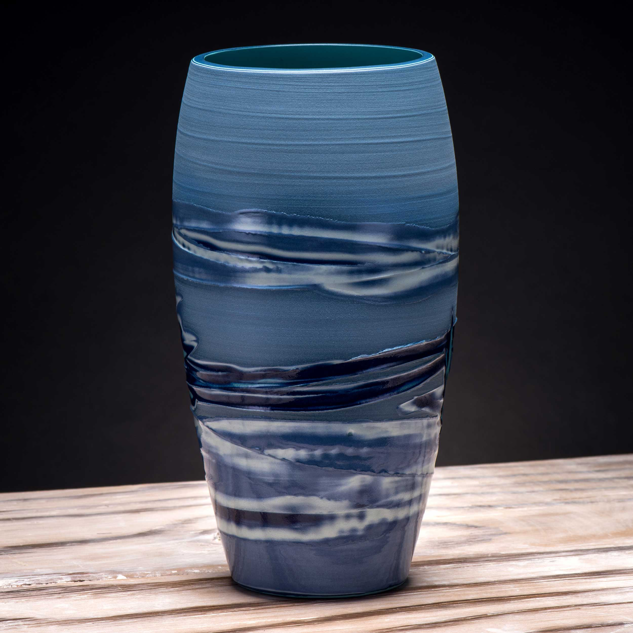 Blue Waves Effect Japanes Style Ceramic Vase by Rowena Gilbert