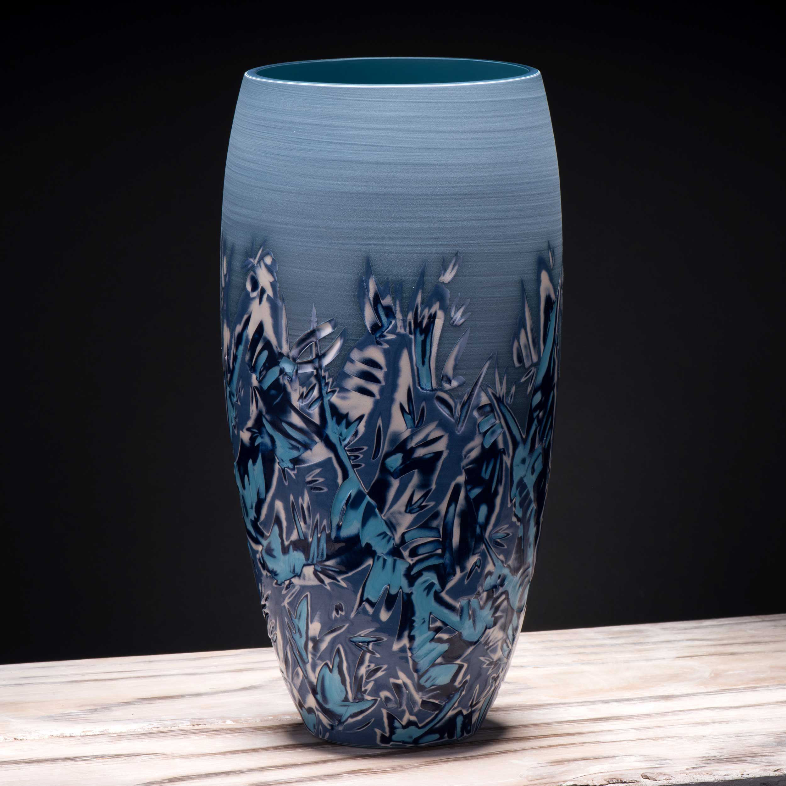 Large Blue Waves Design Vase Seascape Ceramics by Rowena Gilbert