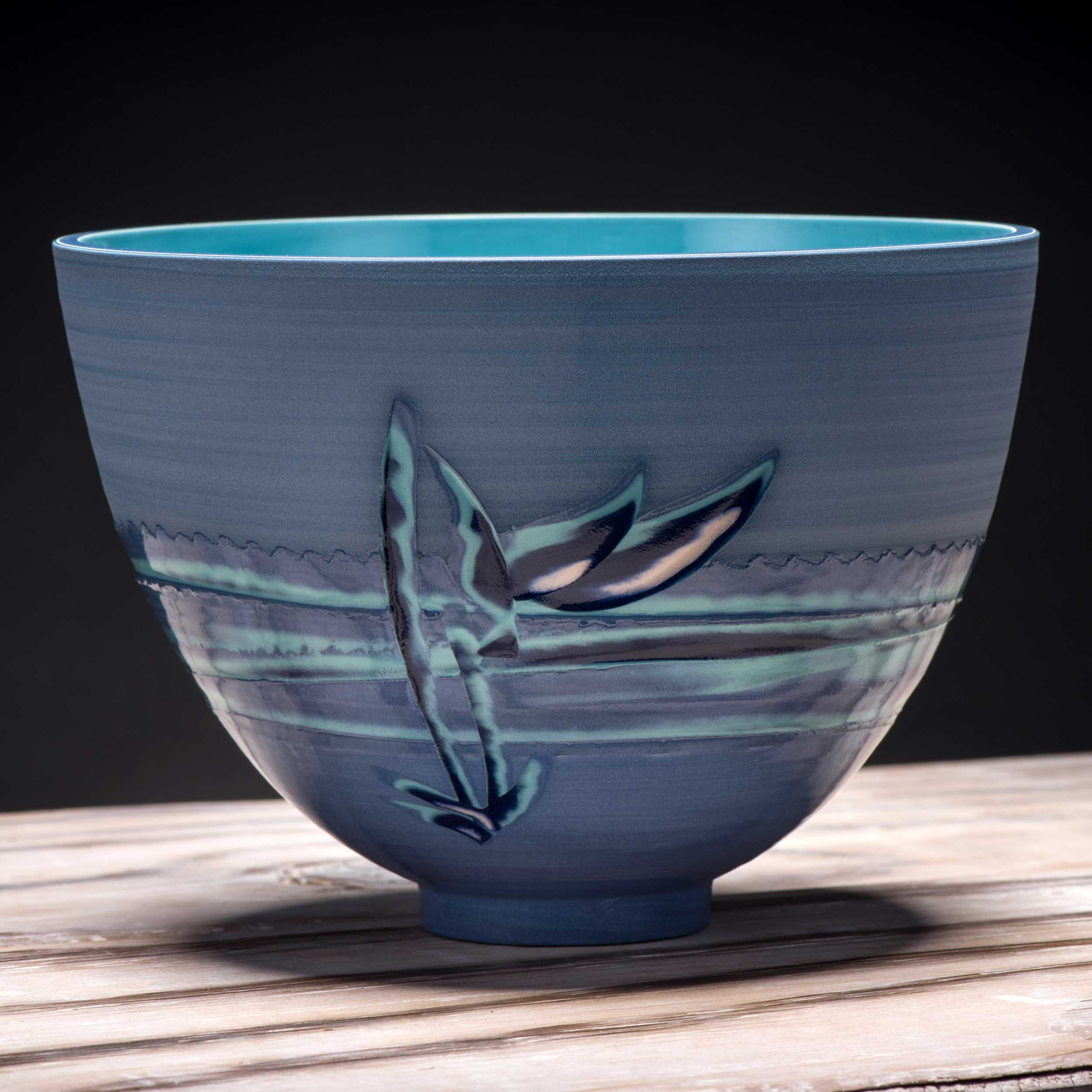 Ceramic Noodle Bowl in Blues Turquoise Oriental Style by Rowena