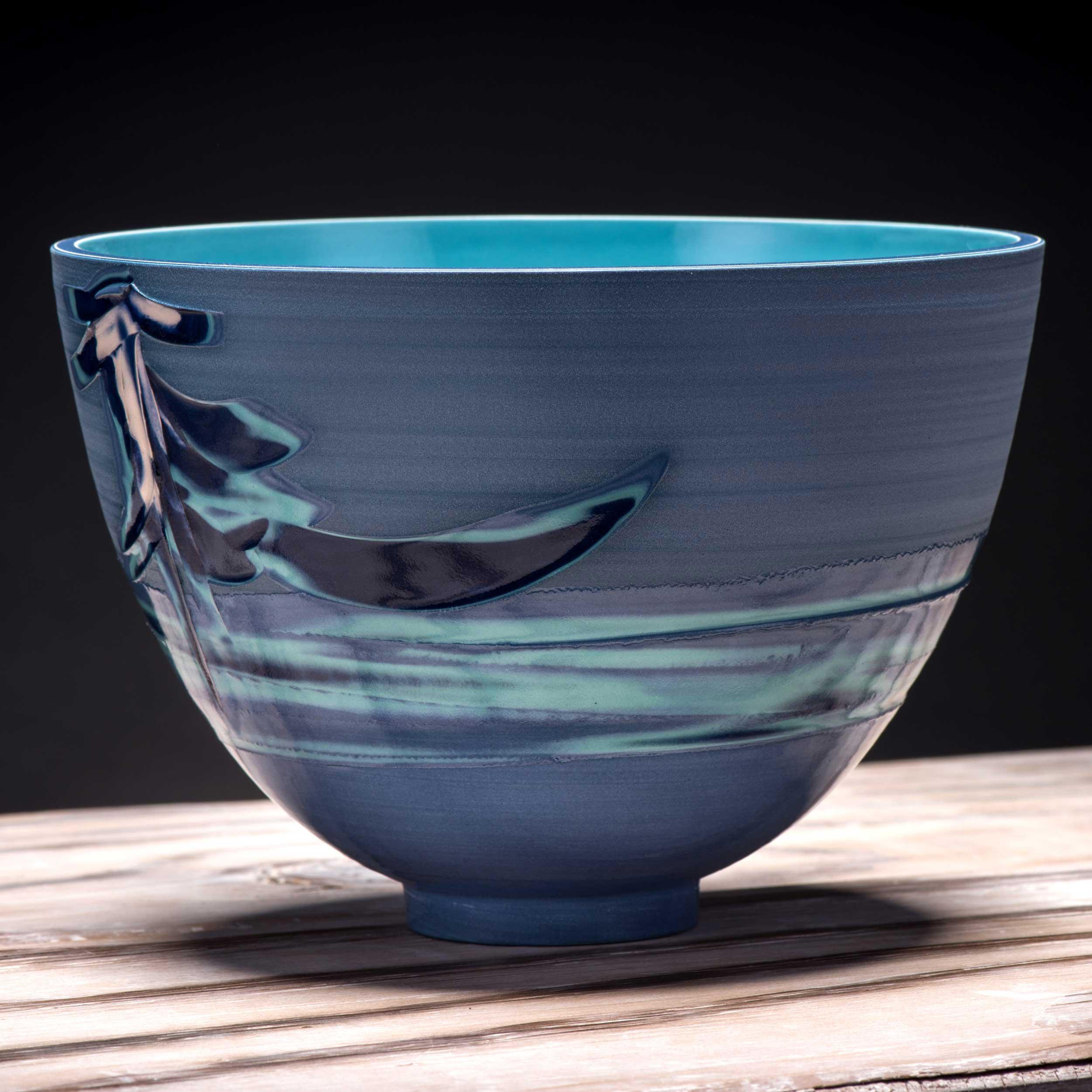 Blue Oriental Waterfall Pattern Bowl by Rowena Gilbert Coast Coi