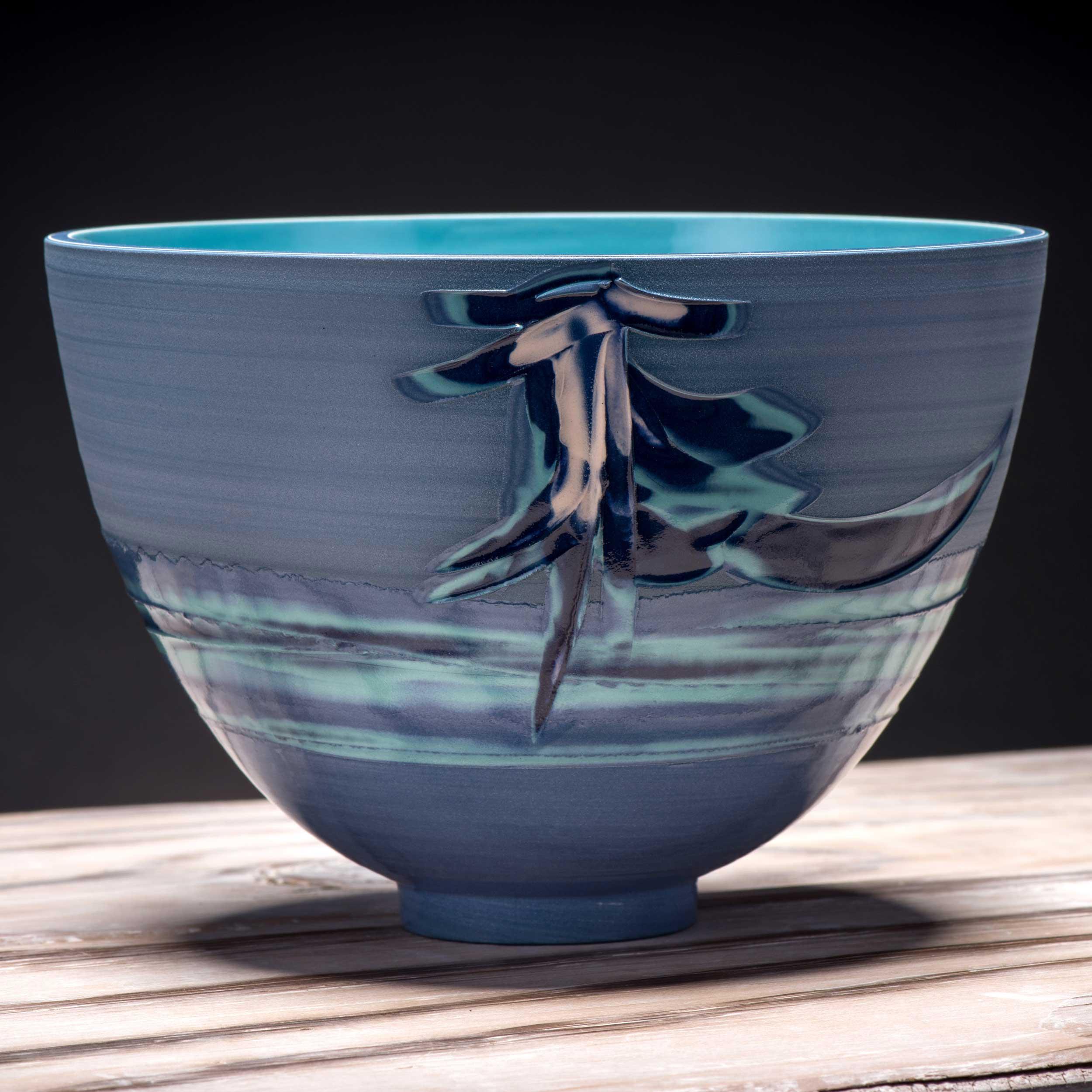 Japanese Style Waterfall Ceramic Bowl by Rowena Gilbert Coast Se
