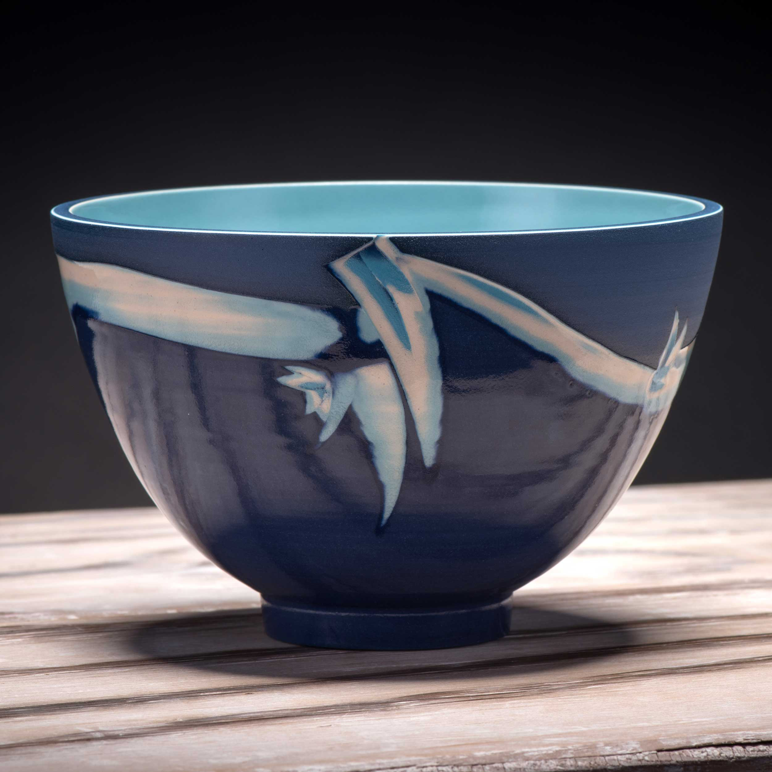 Seascape Ceramic Bowl in Cobalt Blue Turquoise Oriental Style by