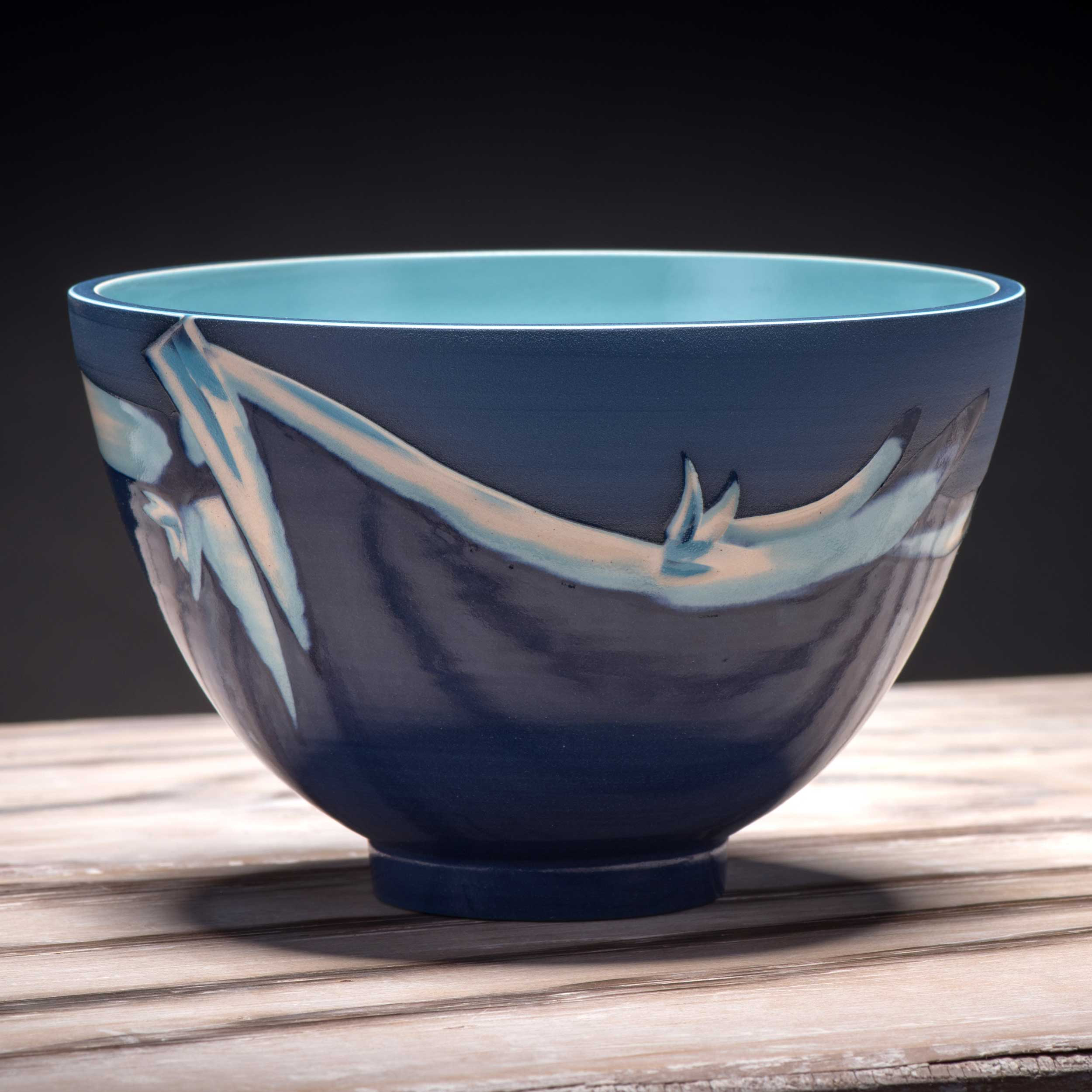 Cobalt Sea Blue Turquoise Wave Pattern Bowl by Rowena Gilbert