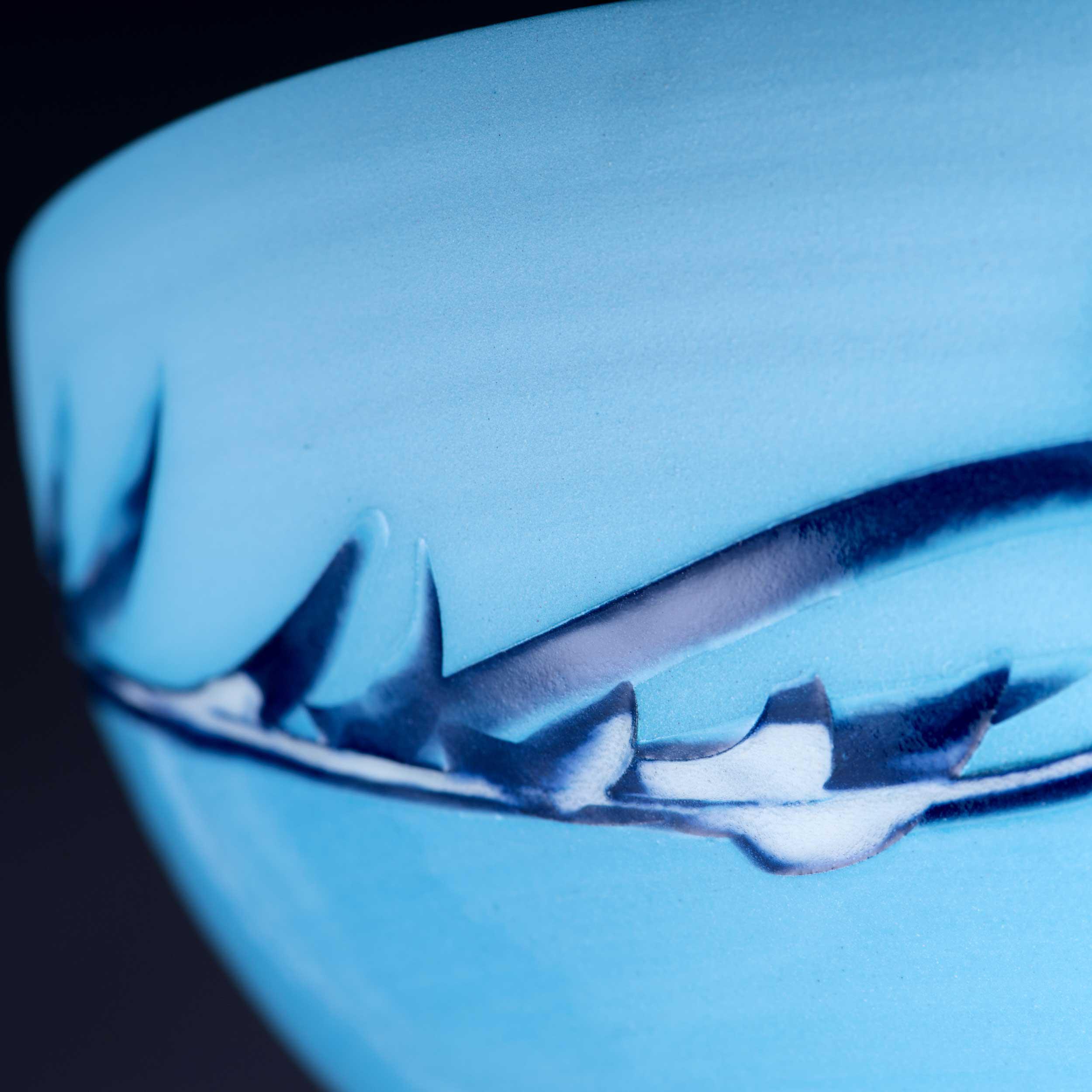 Seascape Wave Sgraffito Pattern Bowl Detail by Rowena Gilbert