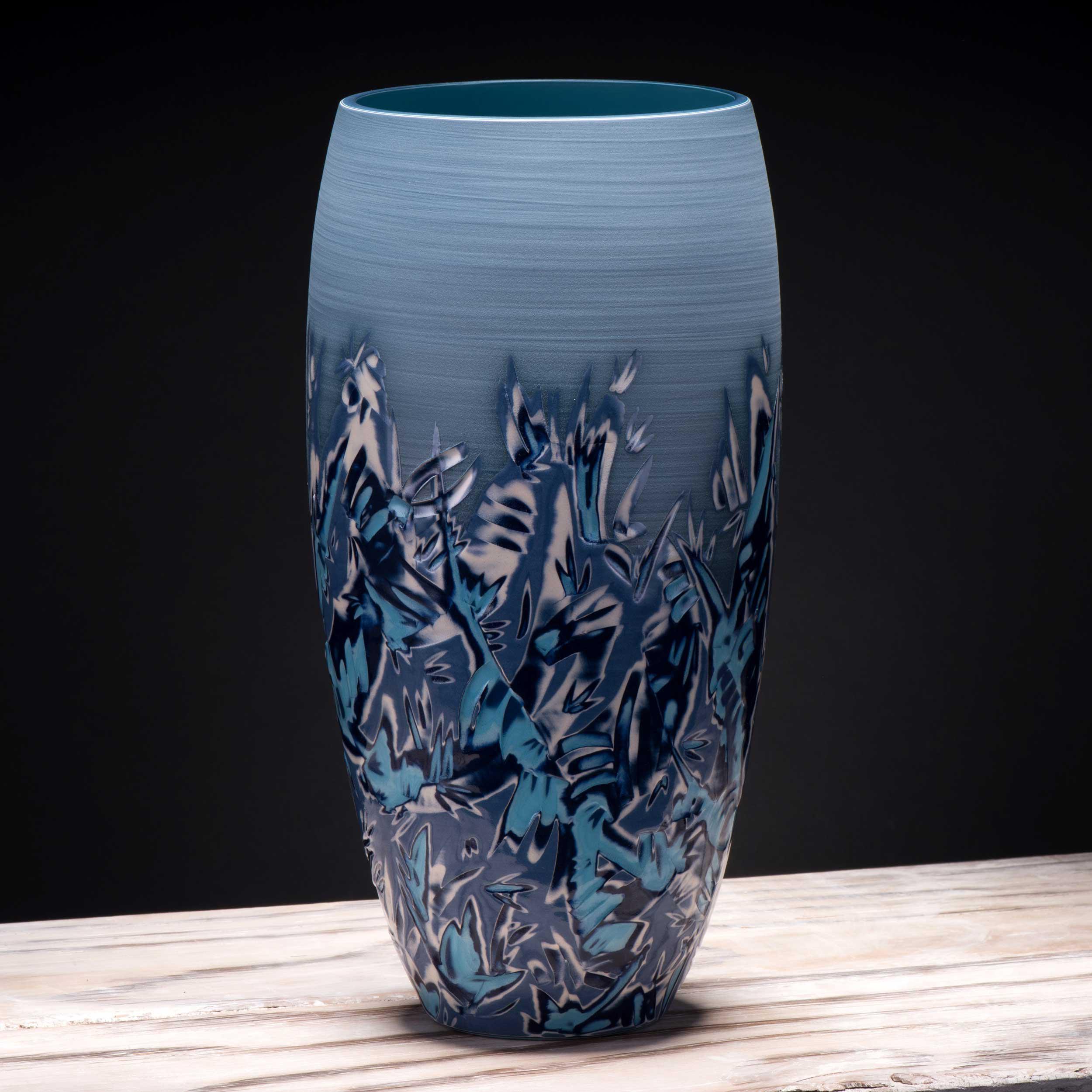 Copy of Turquoise Blue Wave Ceramic Vase Seascape Ceramics by Rowena Gil