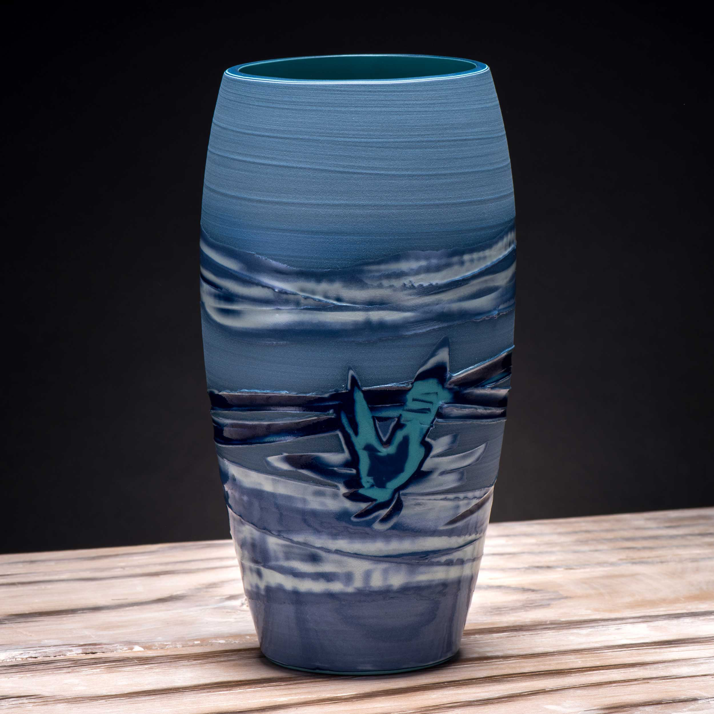 Copy of Blue Sea Splash Design Oriental Style Vase by Rowena Gilbert