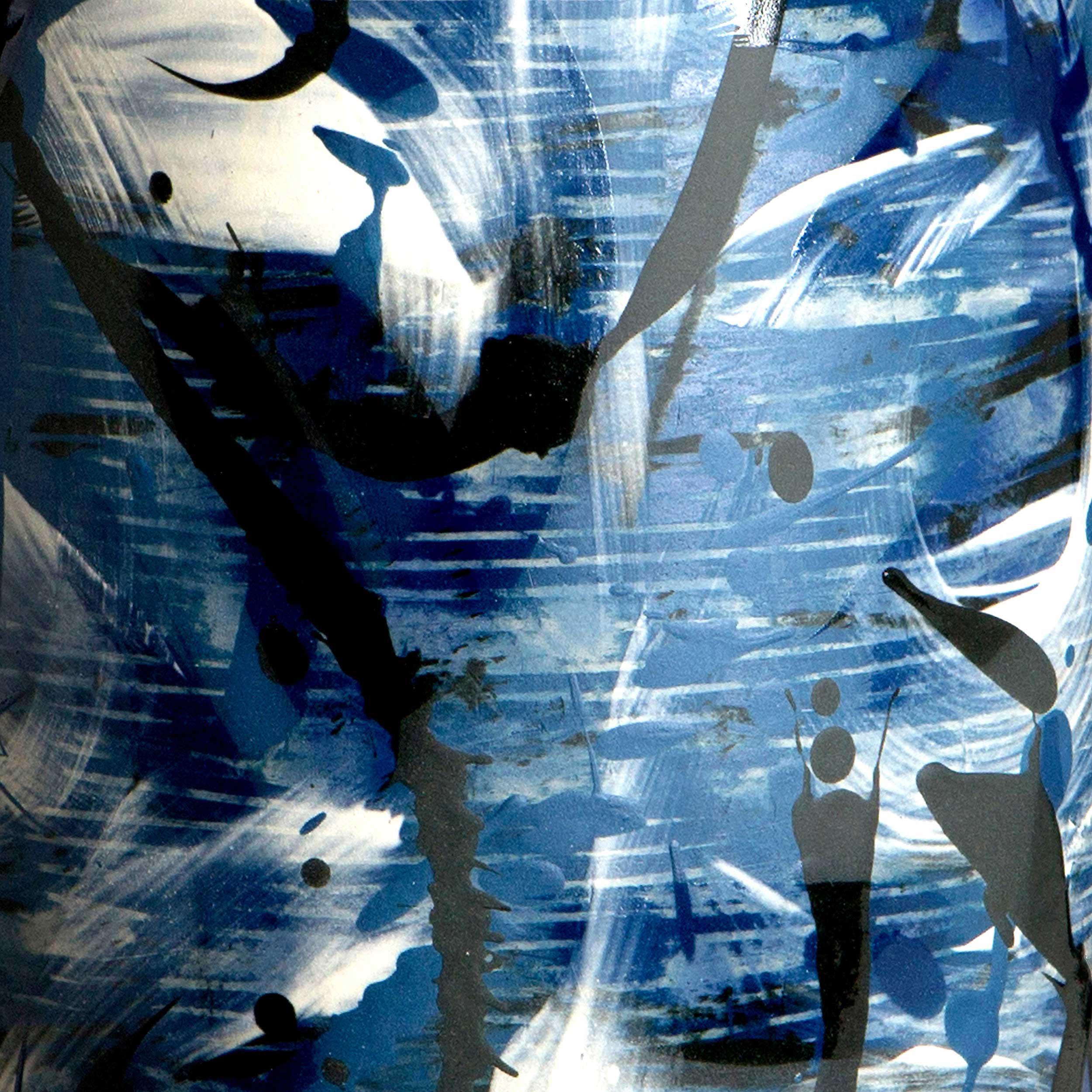 Cobalt Blue Ceramic Waves Pattern Rowena Gilbert