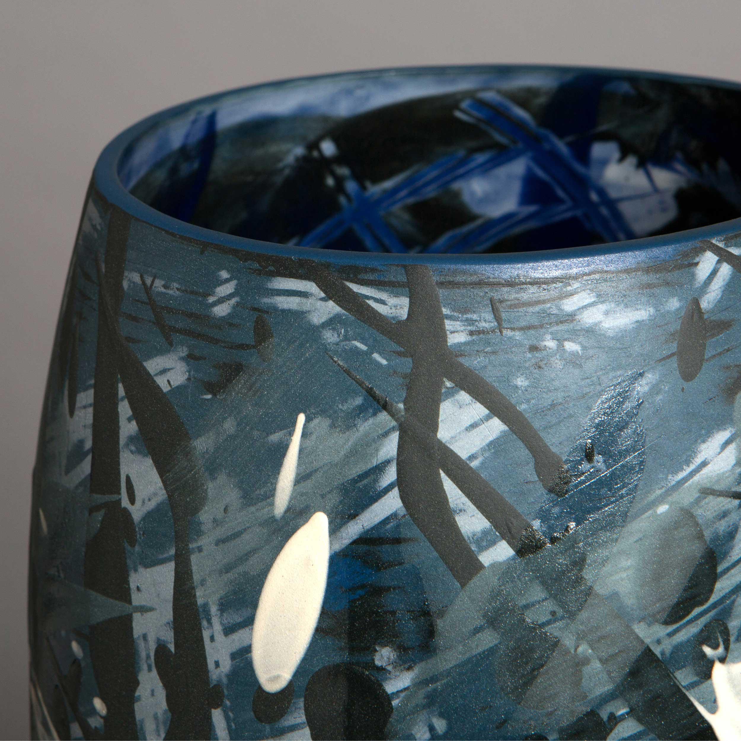 Splashing Waves Ceramic Vase Detail by Rowena Gilbert