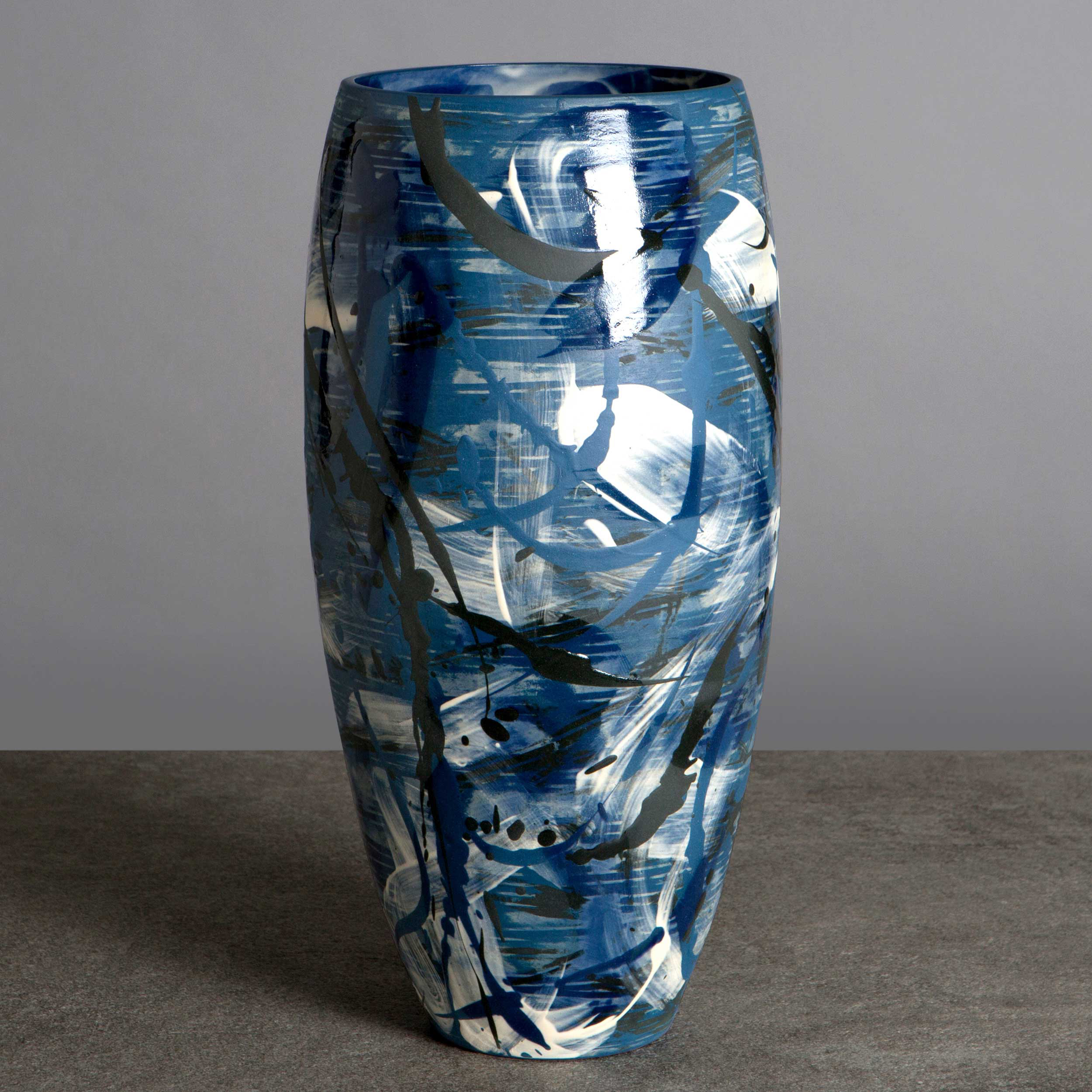 Blue Waves Ceramic Vase by Rowena Gilbert