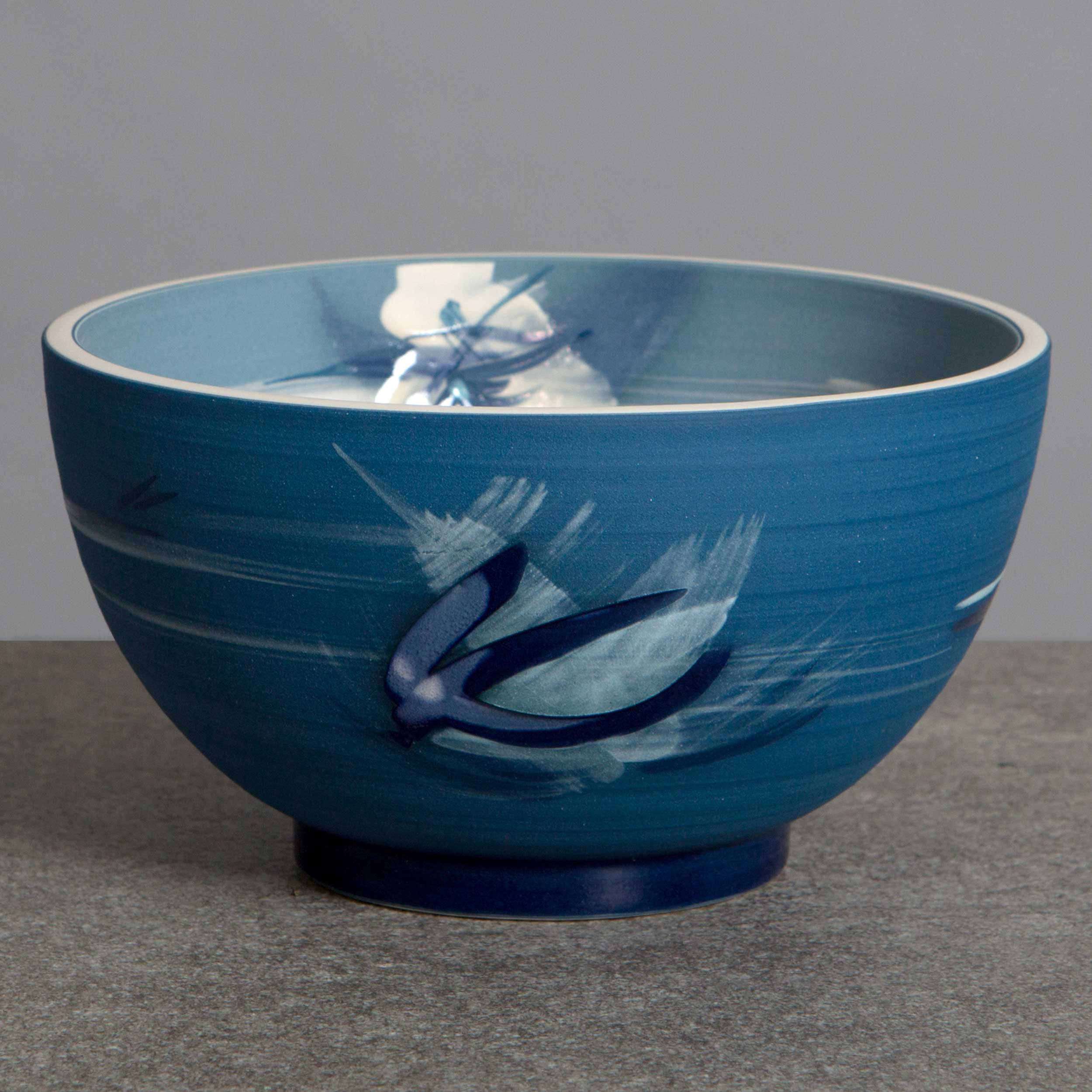 Great Waves Blue Ceramic Bowl by Rowena Gilbert