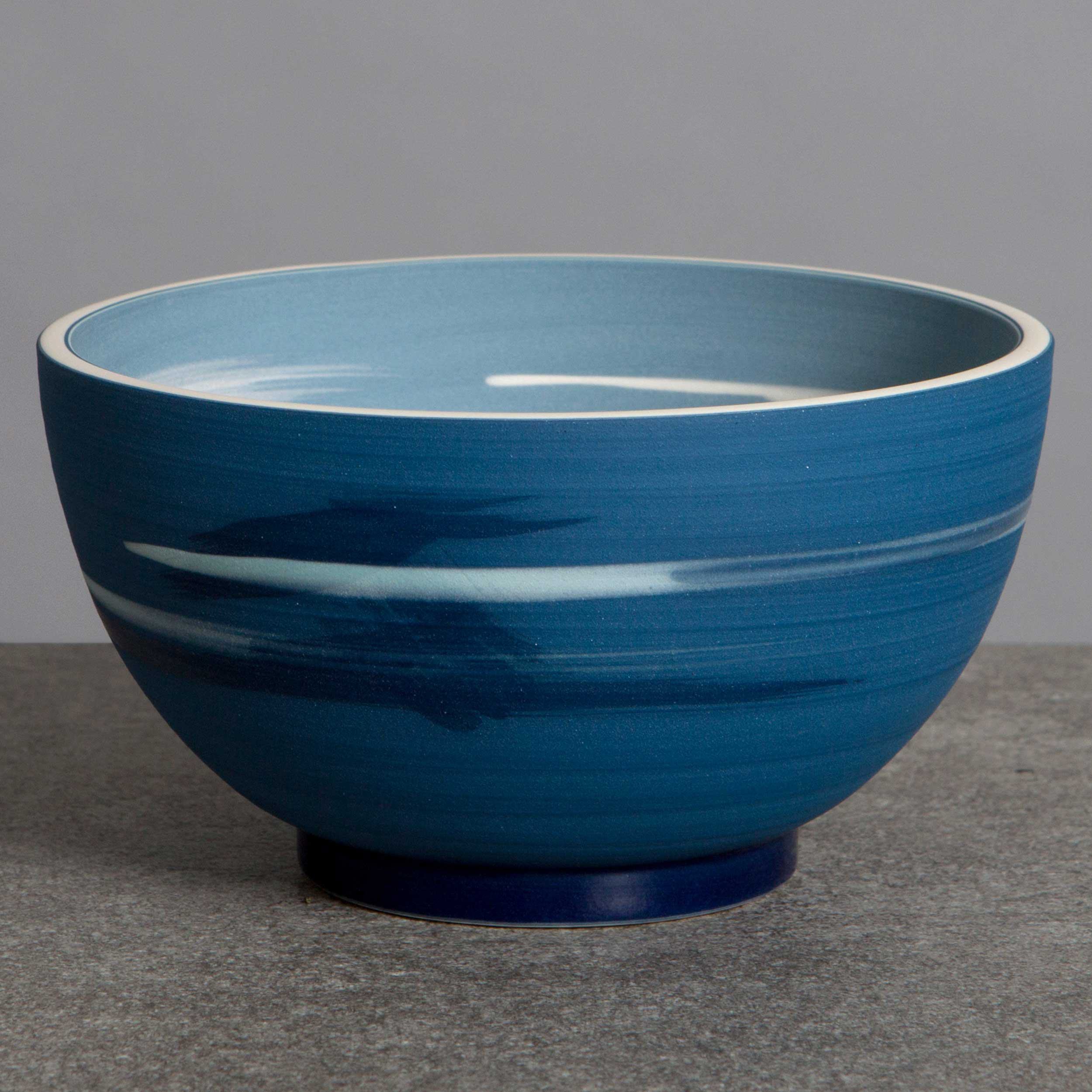 Blue Seascape Ceramic Bowl by Rowena Gilbert