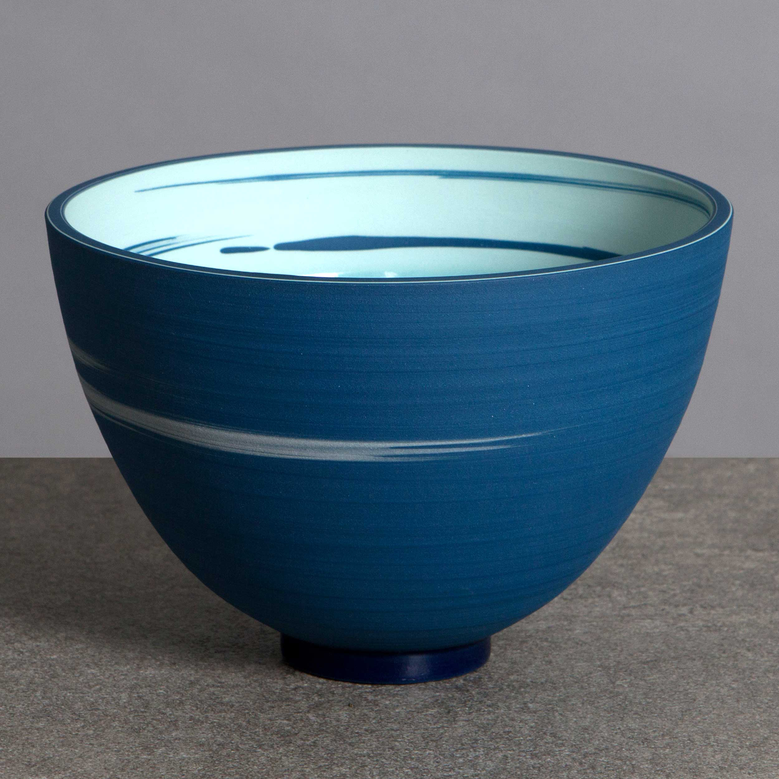 Turquoise Cobalt Blue Ceramic Bowl by Rowena Gilbert