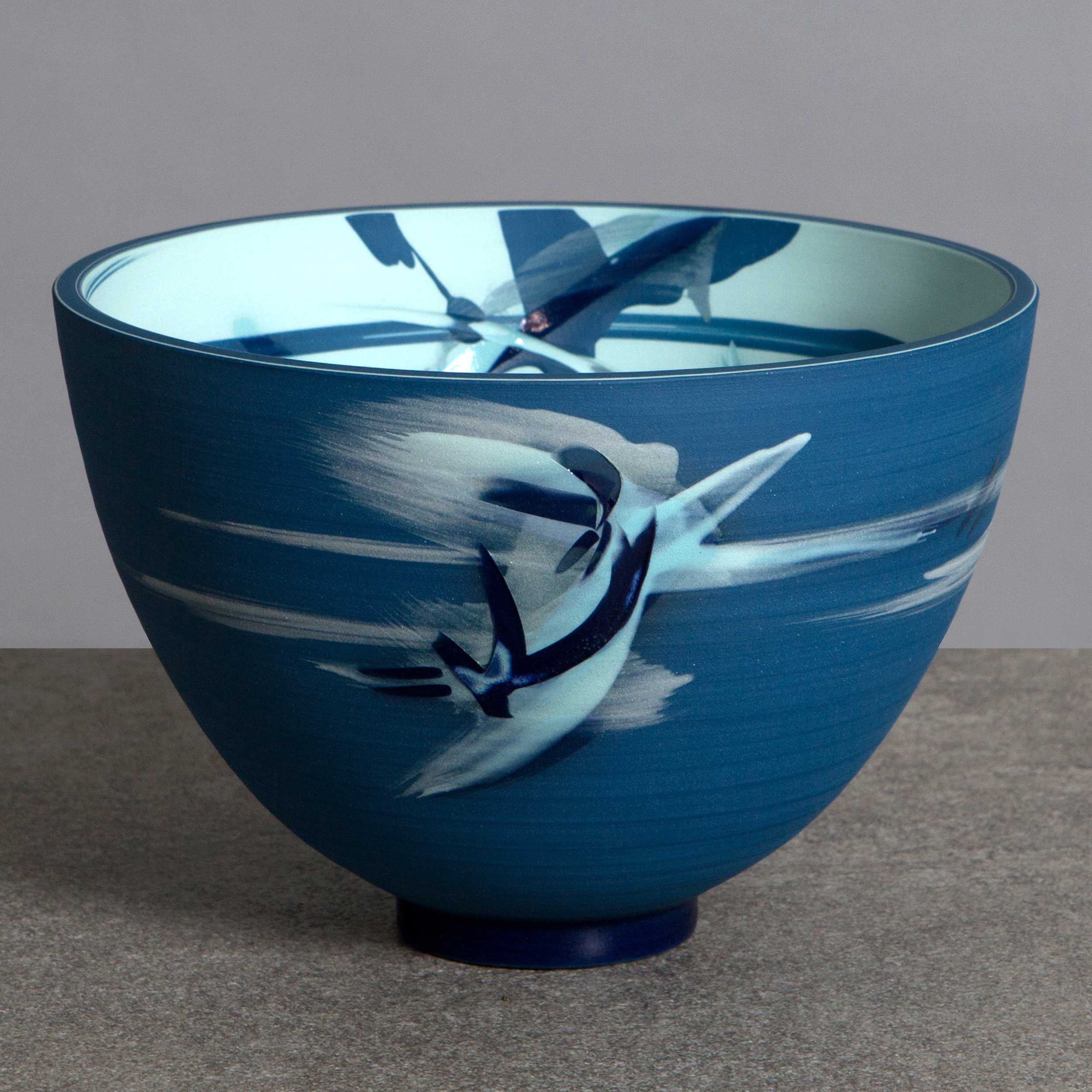 Blue Turquoise Tall Ceramic Bowl by Rowena Gilbert