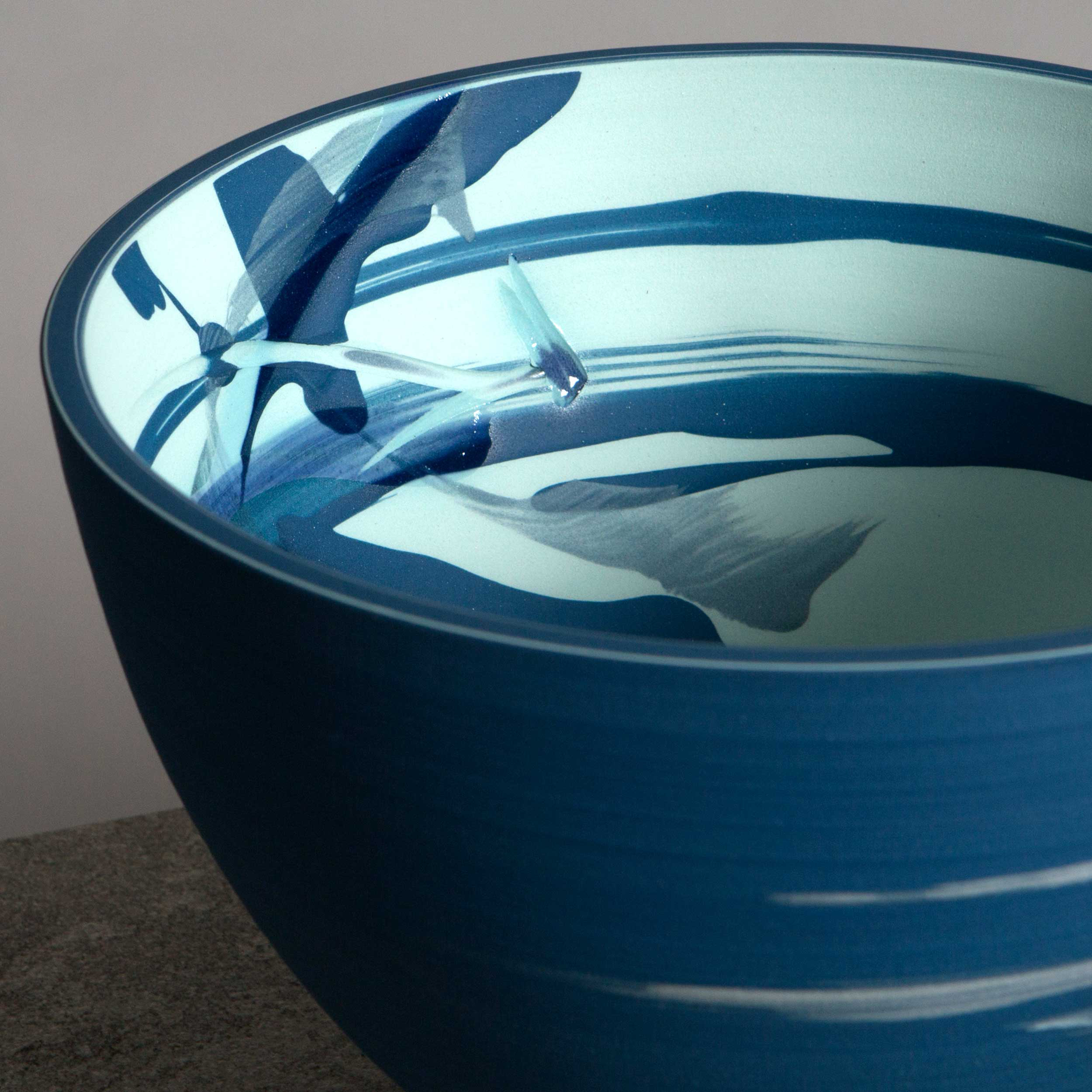 Turquoise Cobalt Blue Splash Ceramic Bowl by Rowena Gilbert