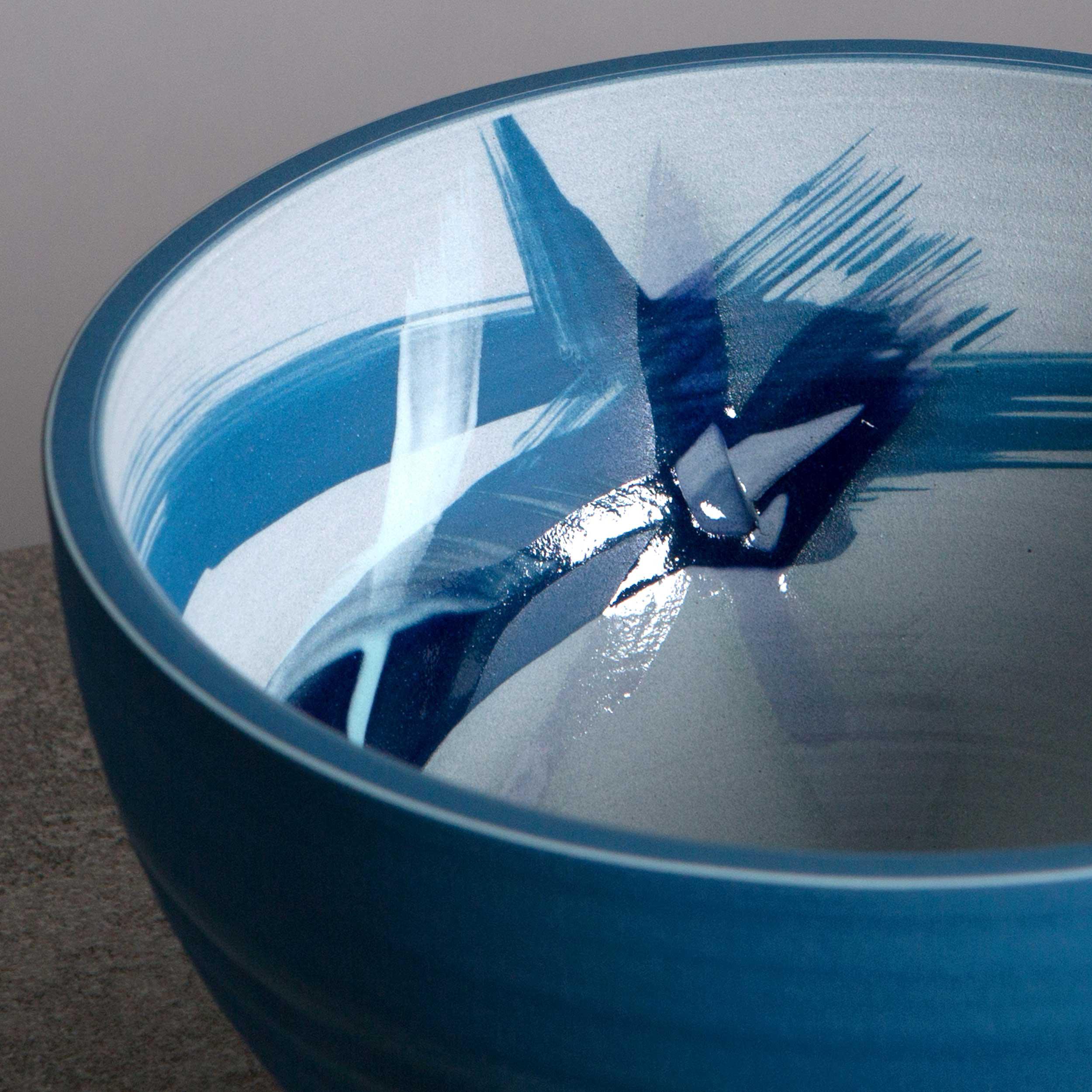 Wind Waves Blue Ceramic Bowl Decoration by Rowena Gilbert
