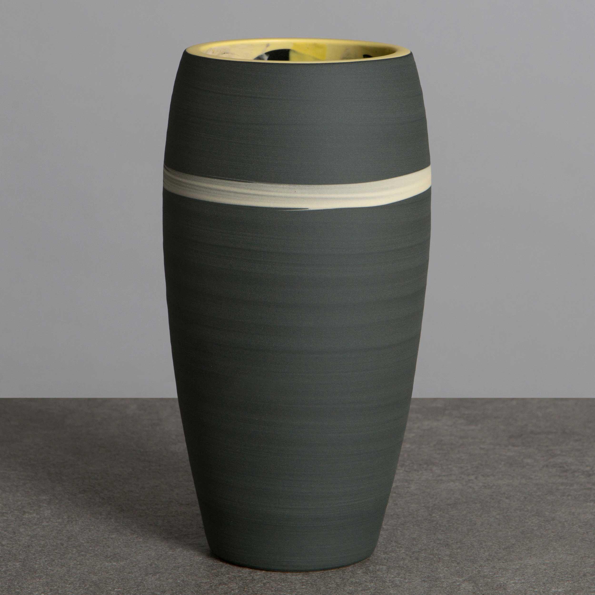 Grey Yellow Ceramic Vase by Rowena Gilbert
