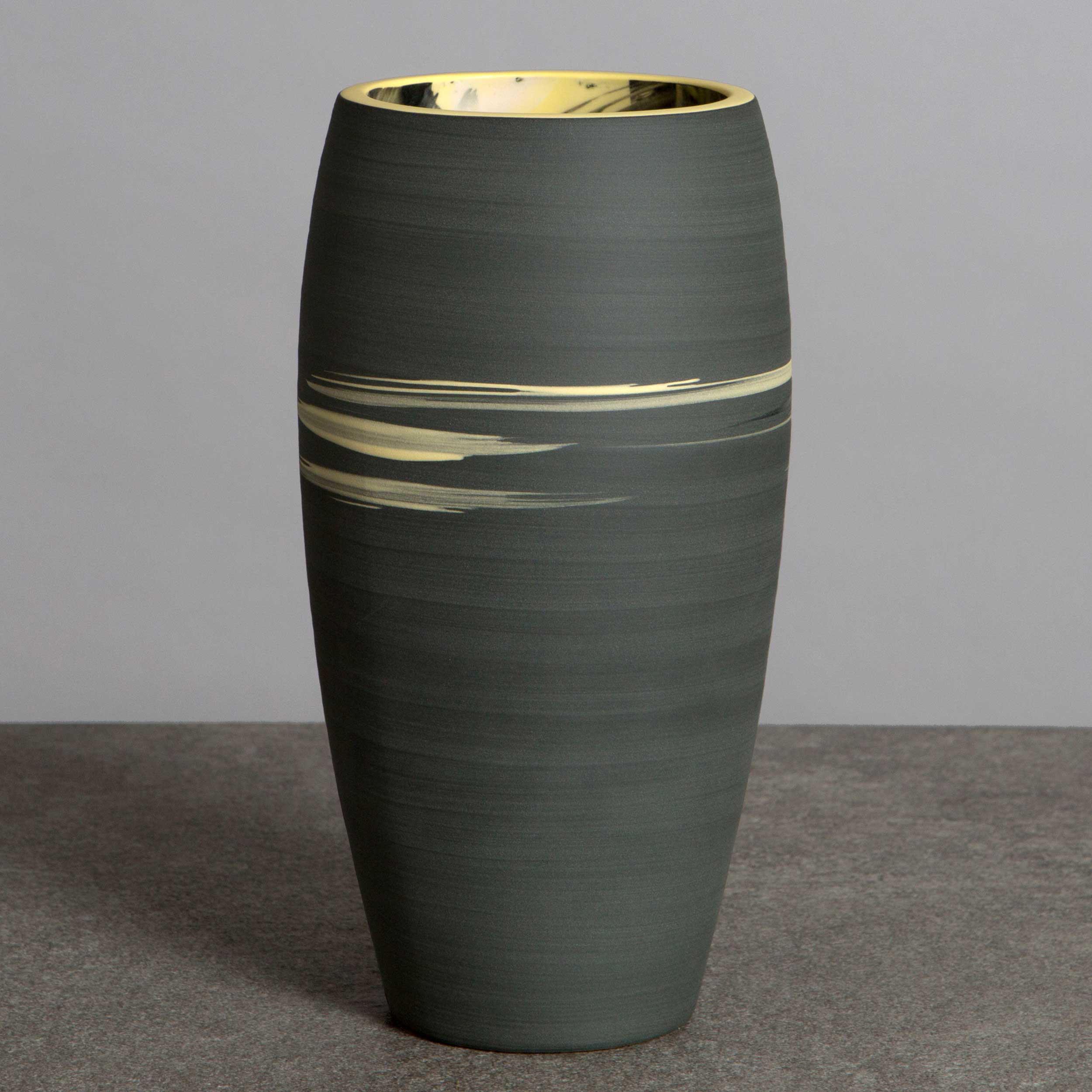 Black Yellow Ceramic Vase by Rowena Gilbert
