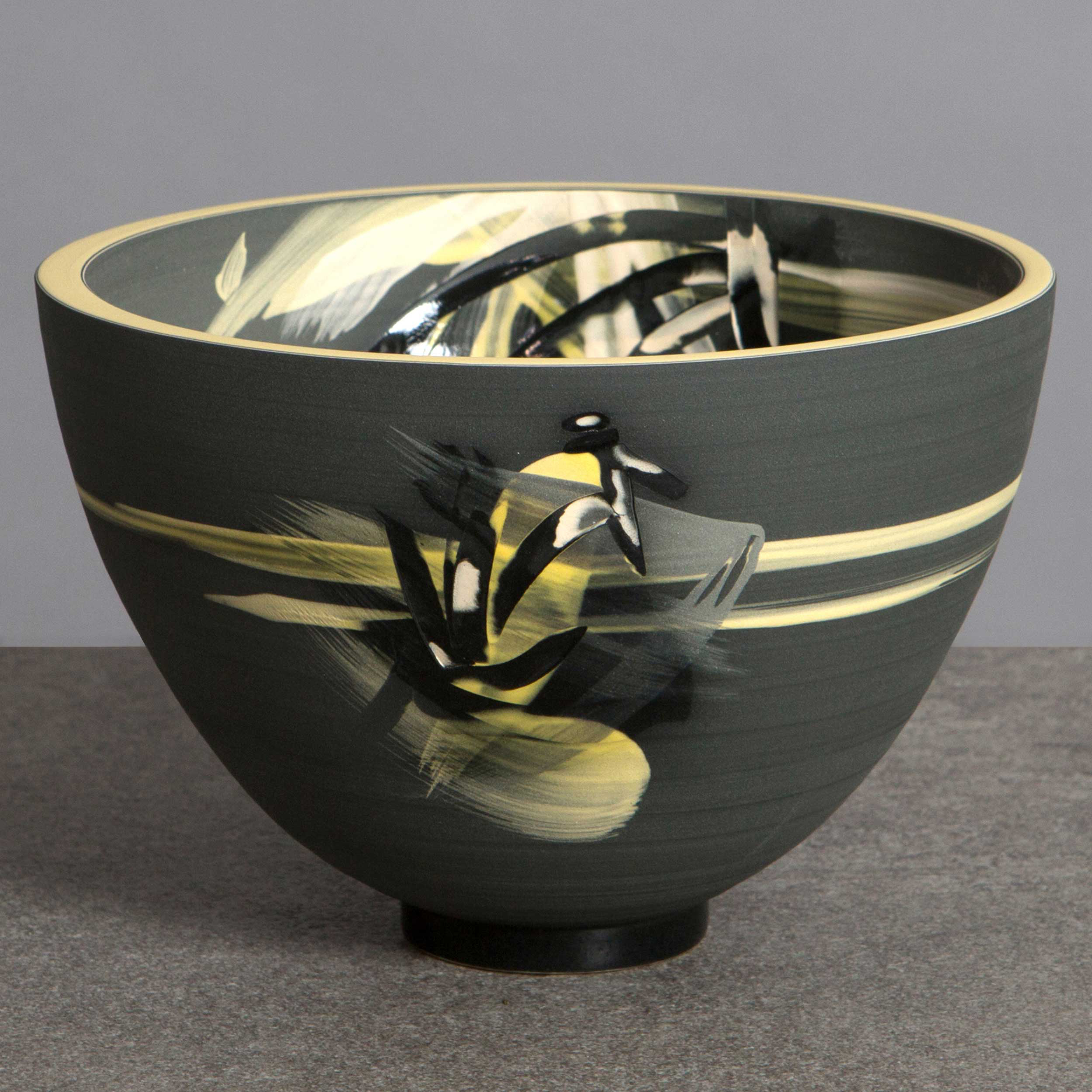 Above the Stars Ceramic Bowl Charcoal Grey Yellow by Rowena Gilb