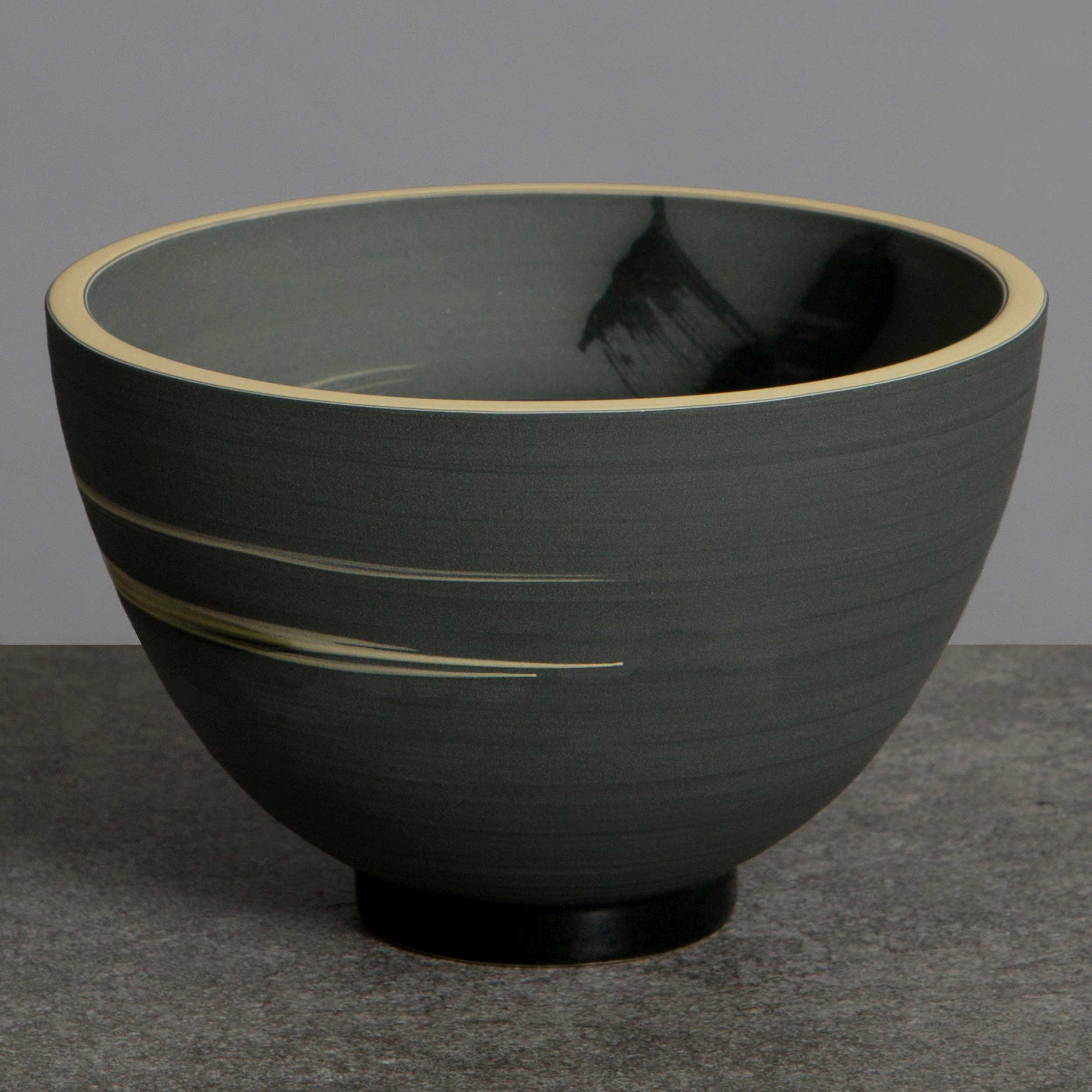 Charcoal Grey Yellow Ceramic Bowl Ceramic Bowl by Rowena Gilbert