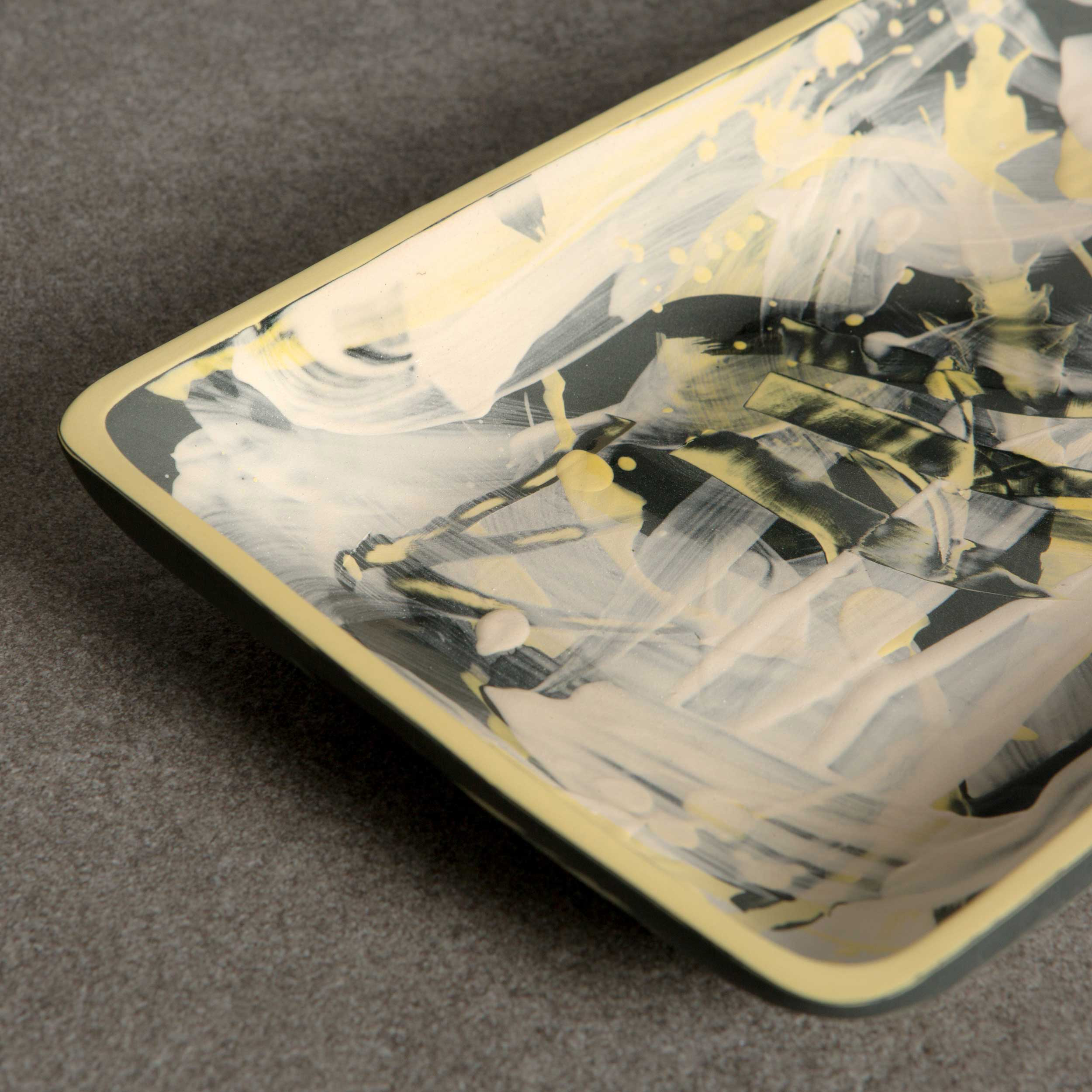Charcoal Yellow Ceramic Platter Serving Plate by Rowena Gilbert