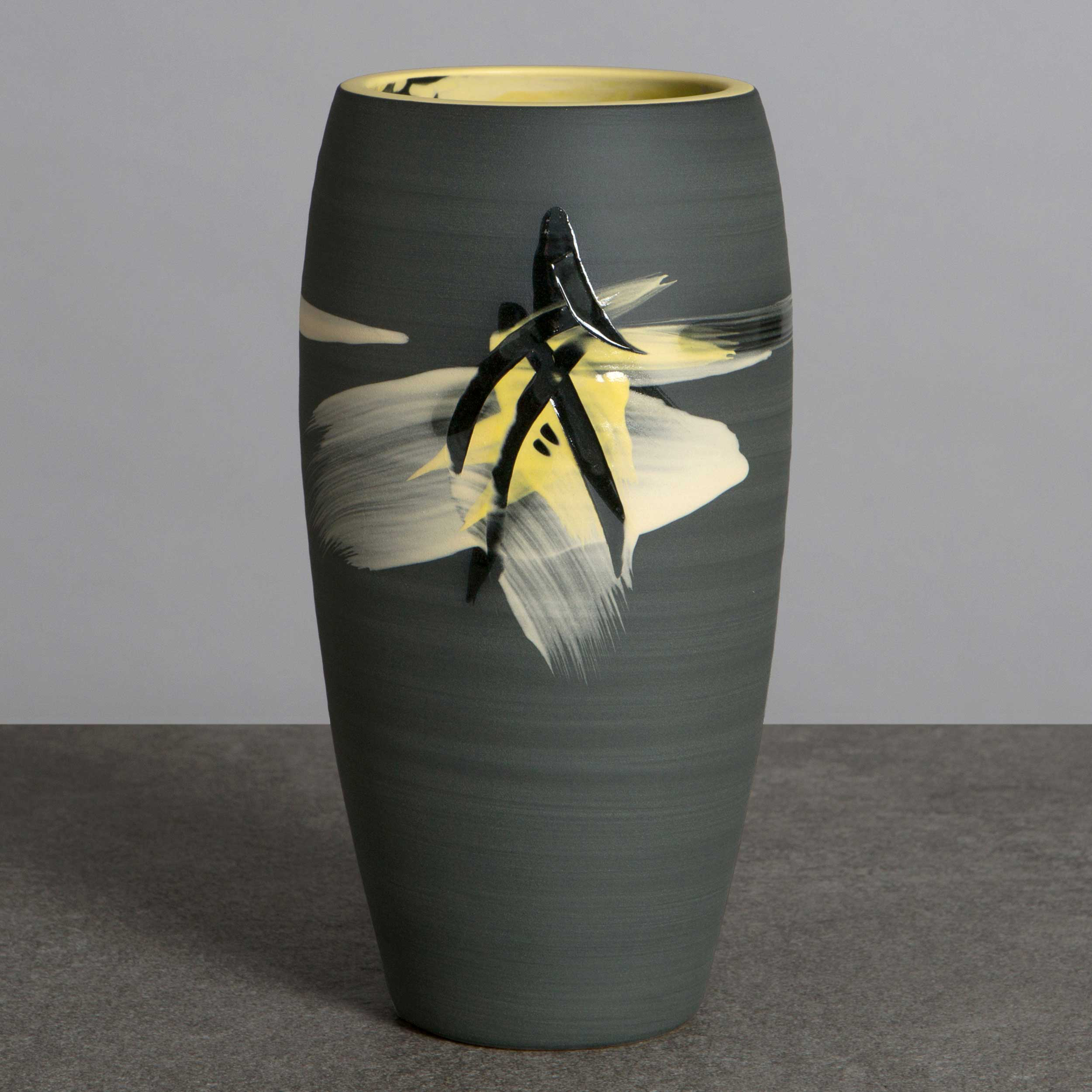 Charcoal Yellow Ceramic Vase by Rowena Gilbert Above the Stars S