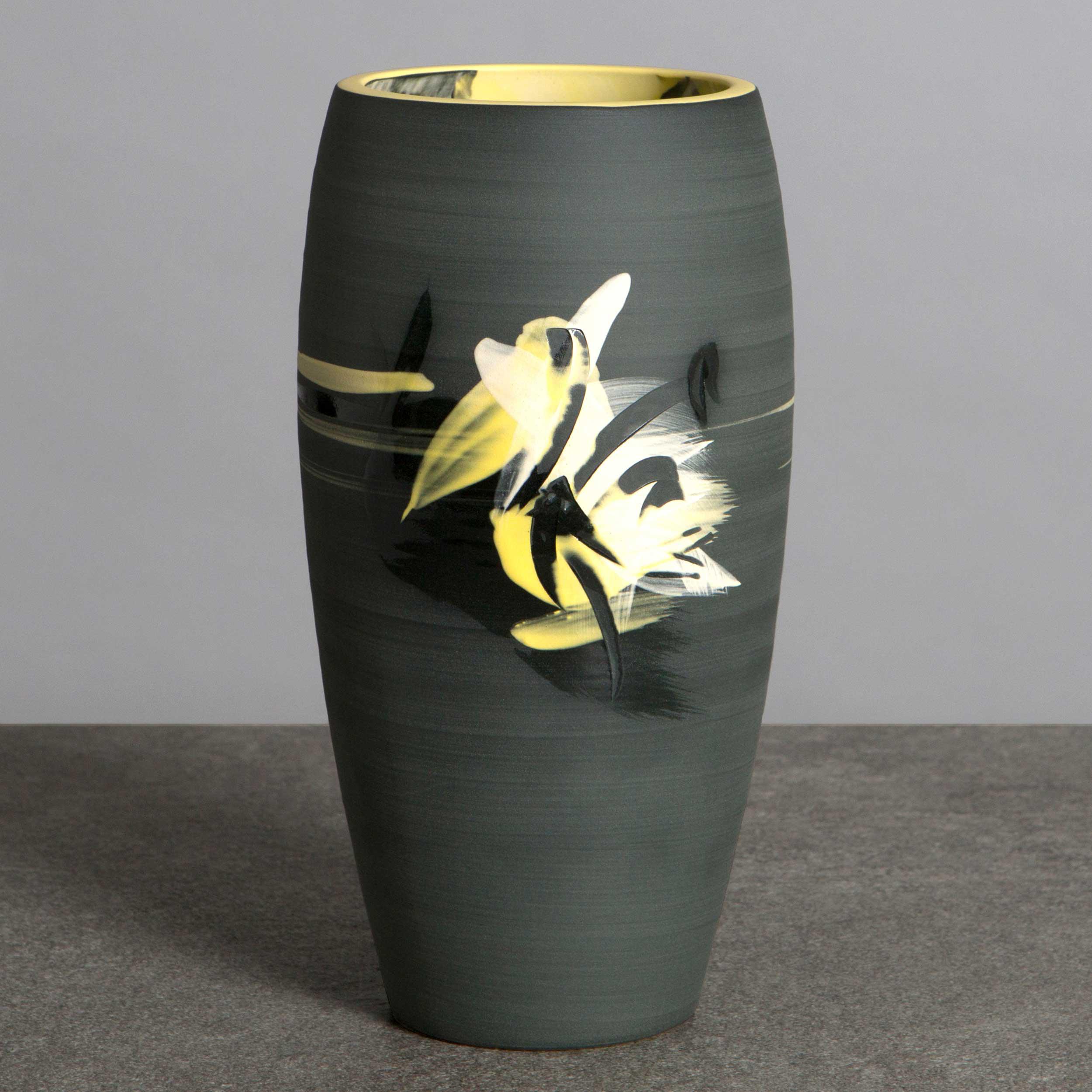 Charcoal Grey Yellow Ceramic Vase by Rowena Gilbert