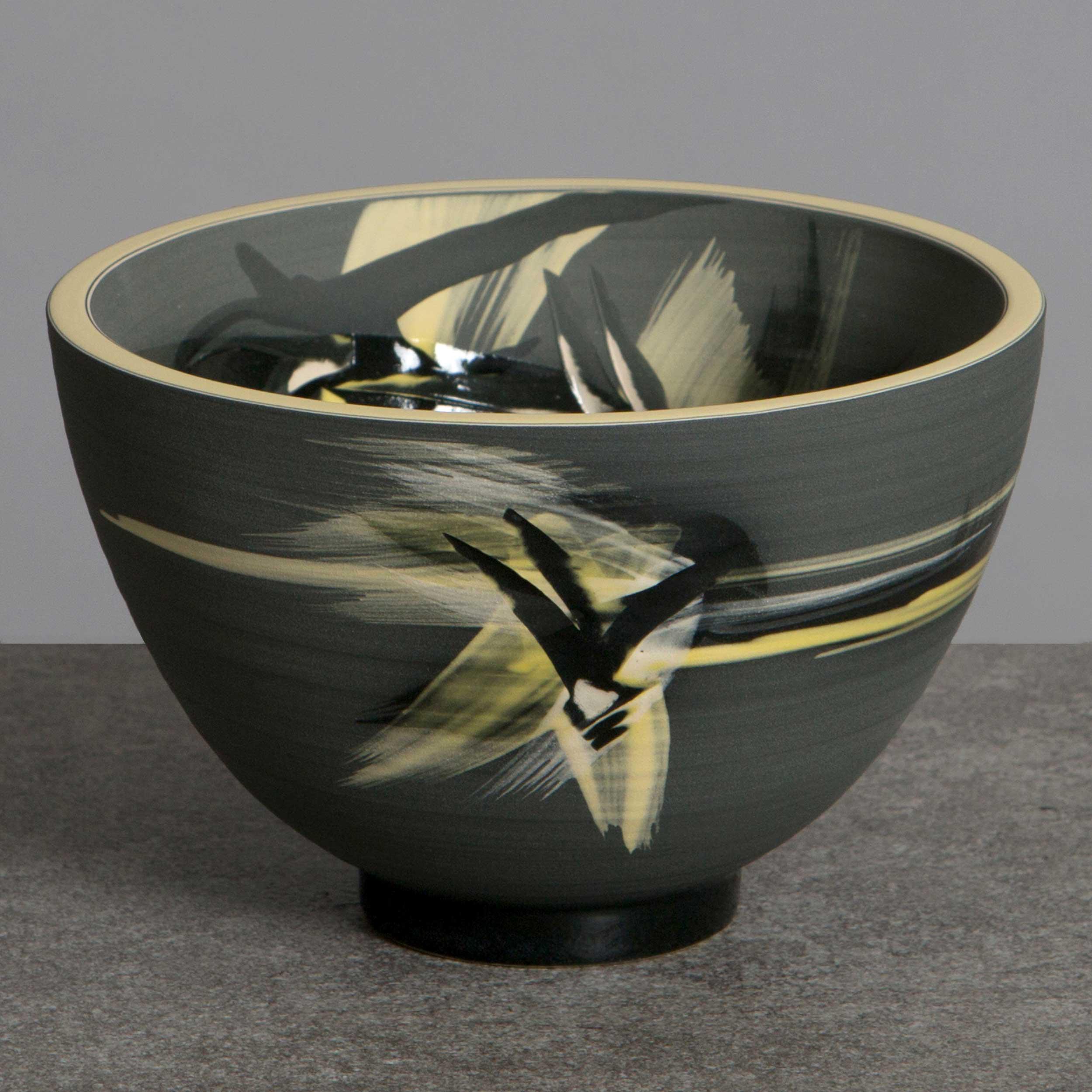 Dark Gray Yellow Ceramic Bowll by Rowena Gilbert