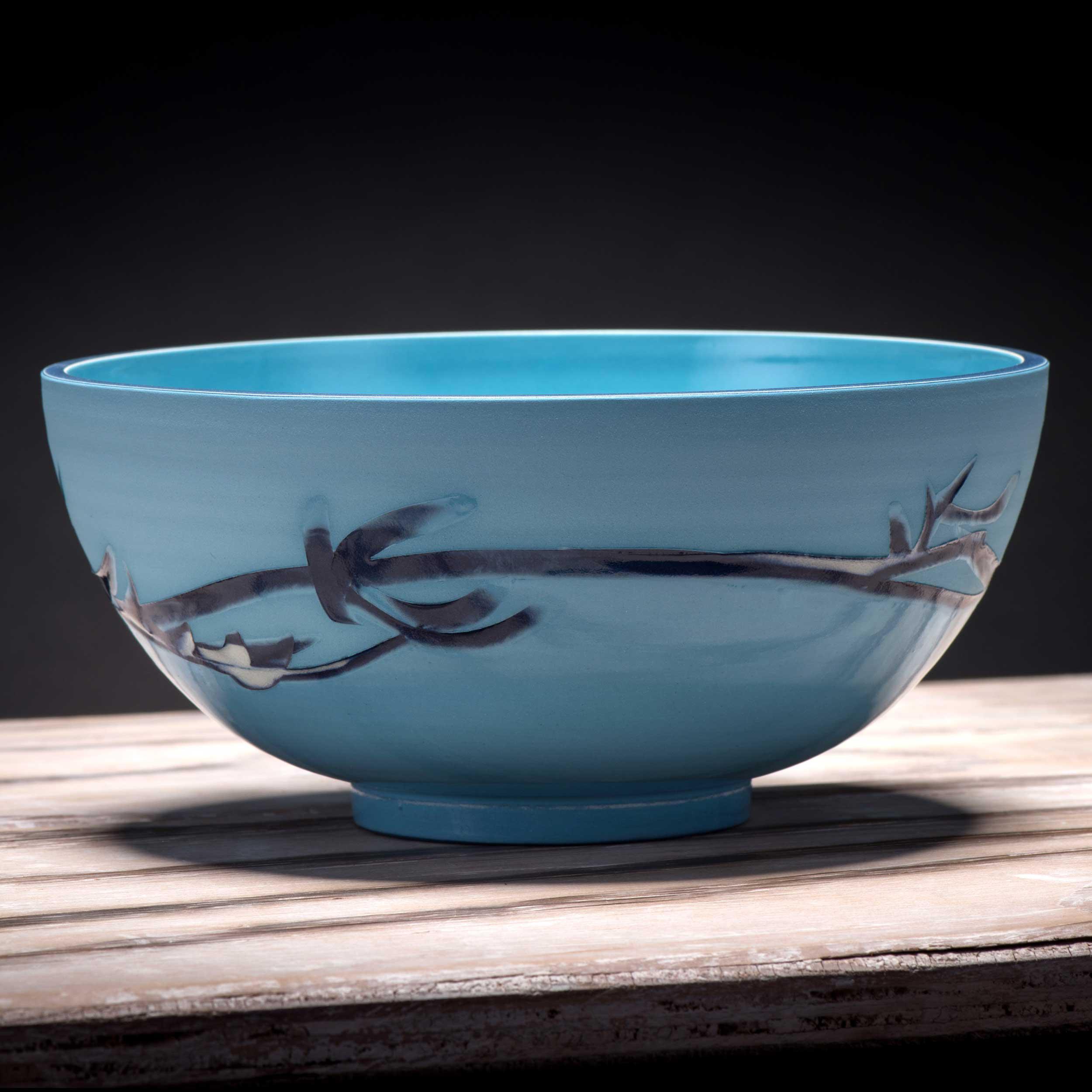 Ceramic Bowl Turquoise Blue Wave Pattern by Rowena Gilbert Coast