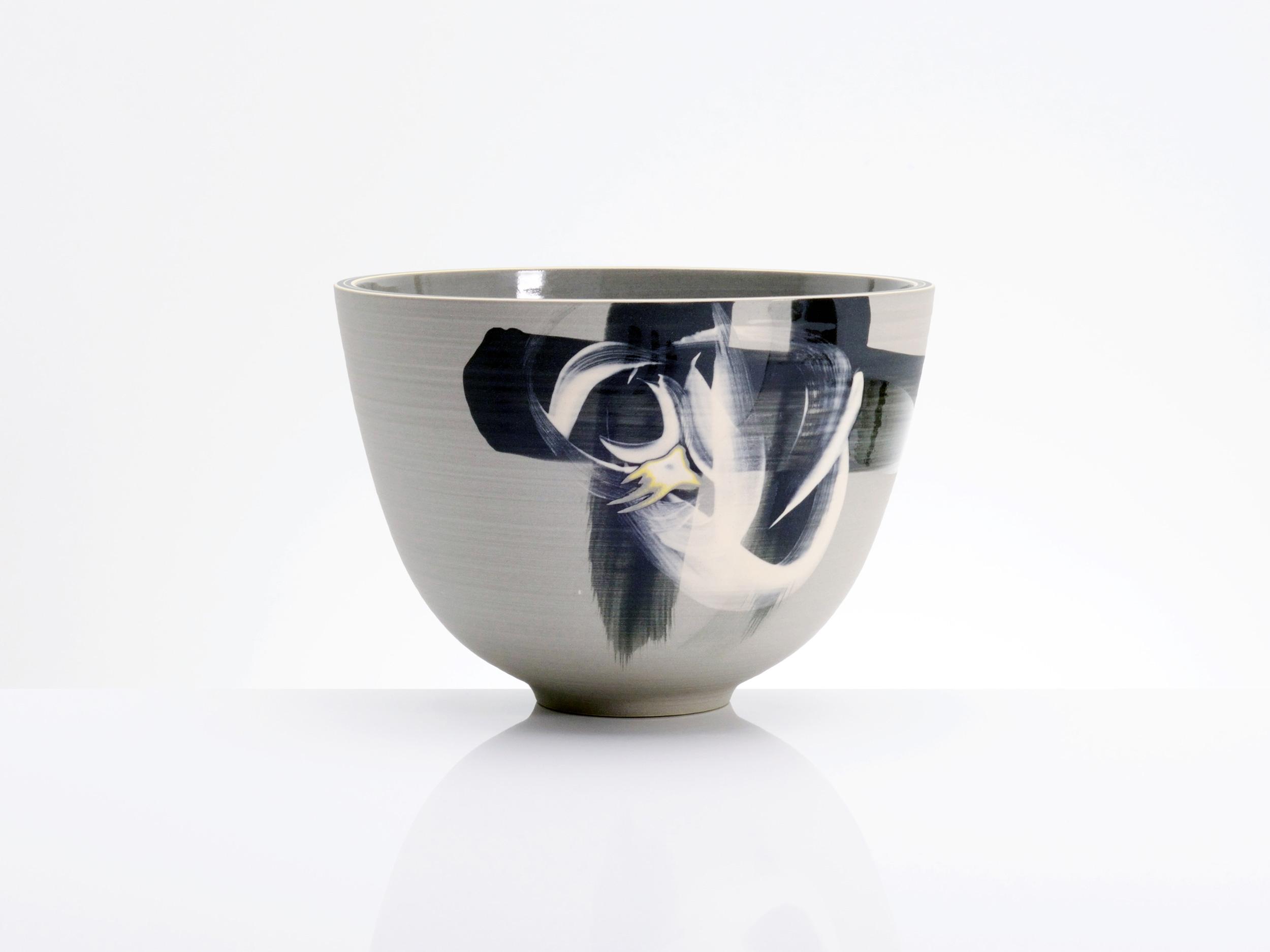 Grey Black Centre Bowl by Rowena Gilbert