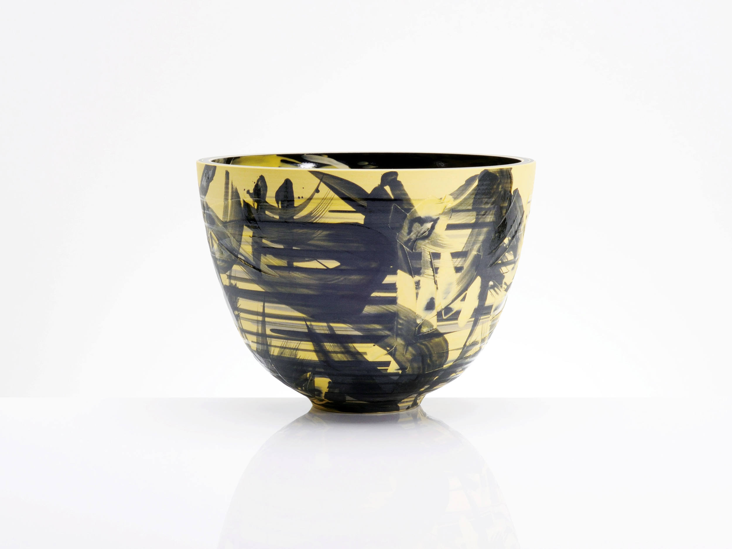 Yellow Black Abstract Bowl by Rowena Gilbert