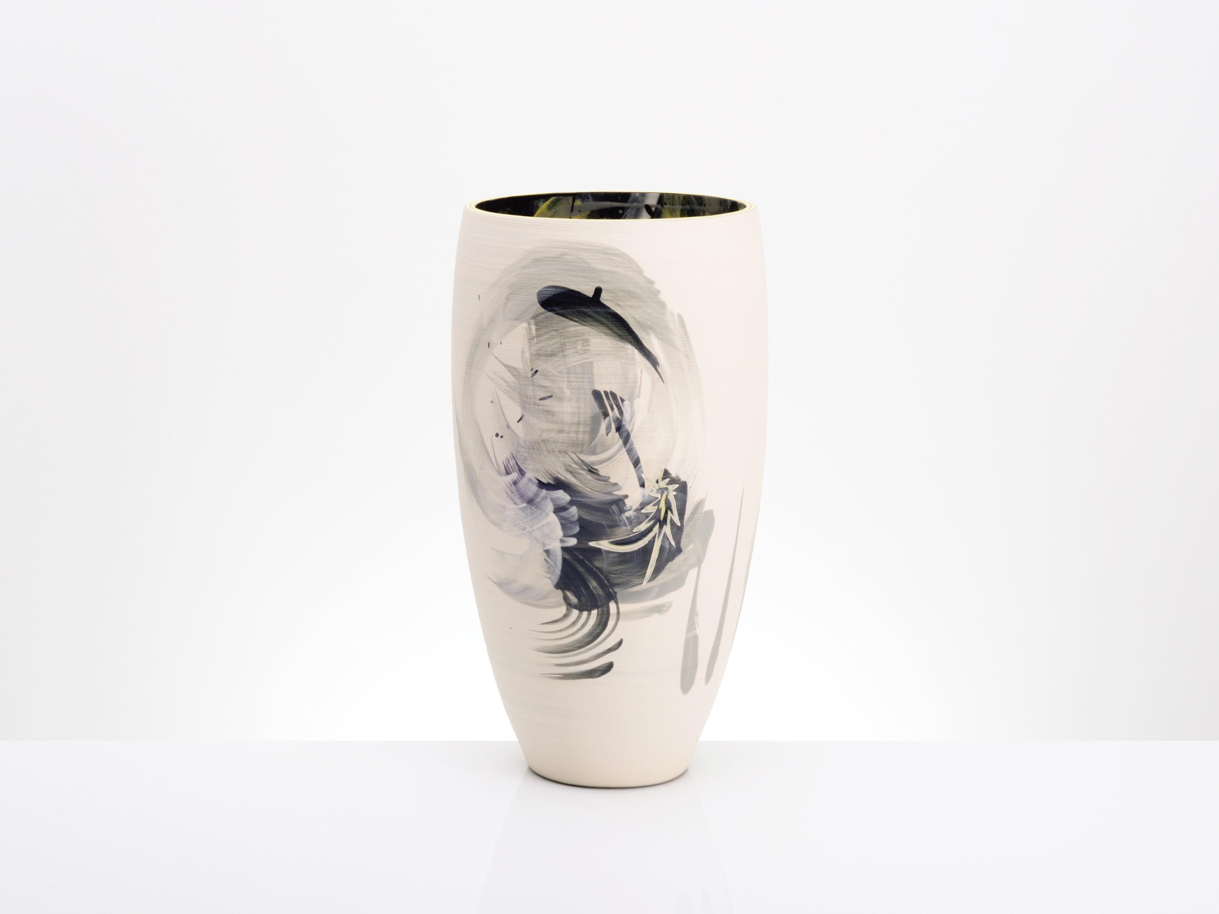 Cream White Contemporary Art Vase by Rowena Gilbert