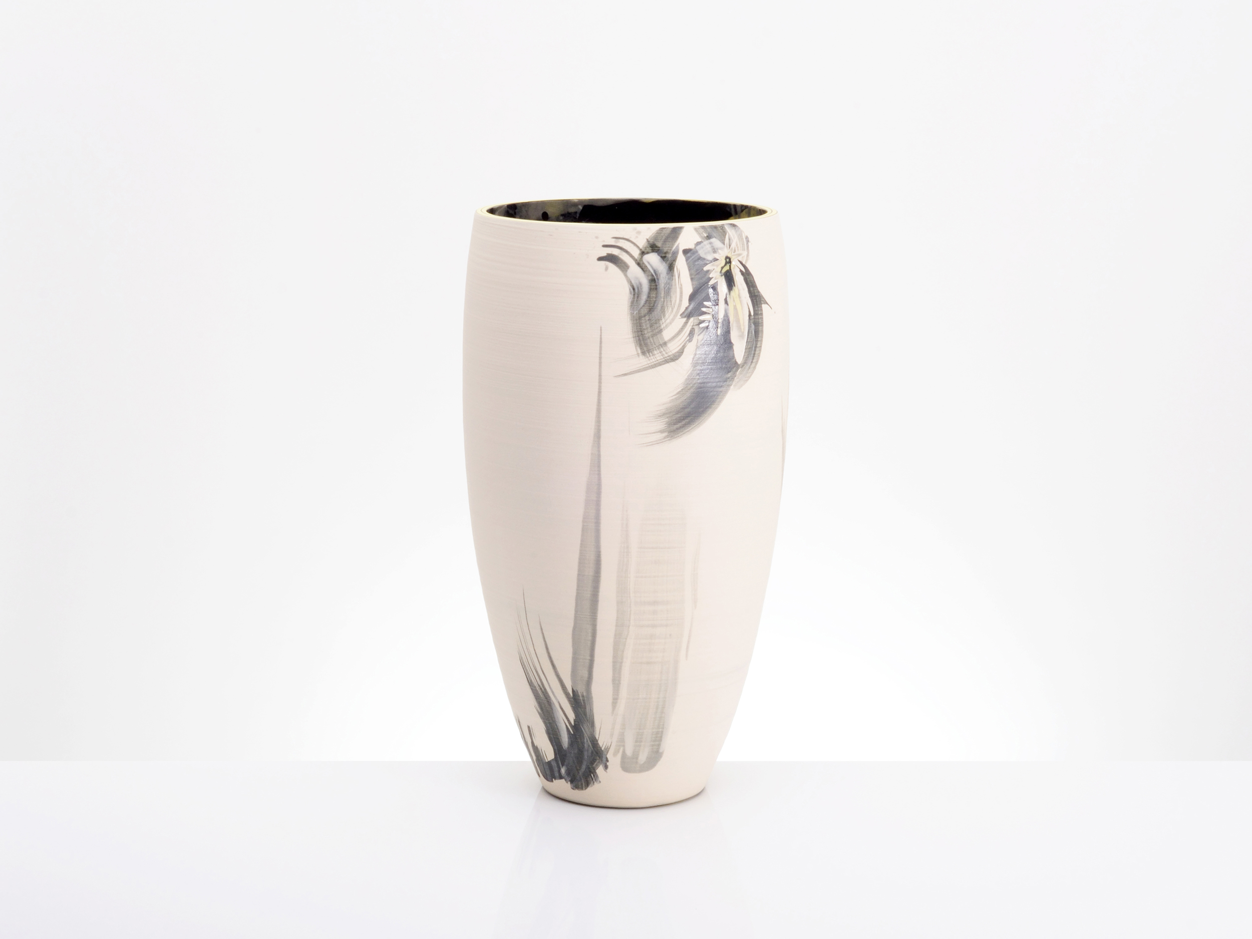 Abstract Art Vase in Cream White Grey by Rowena Gilbert