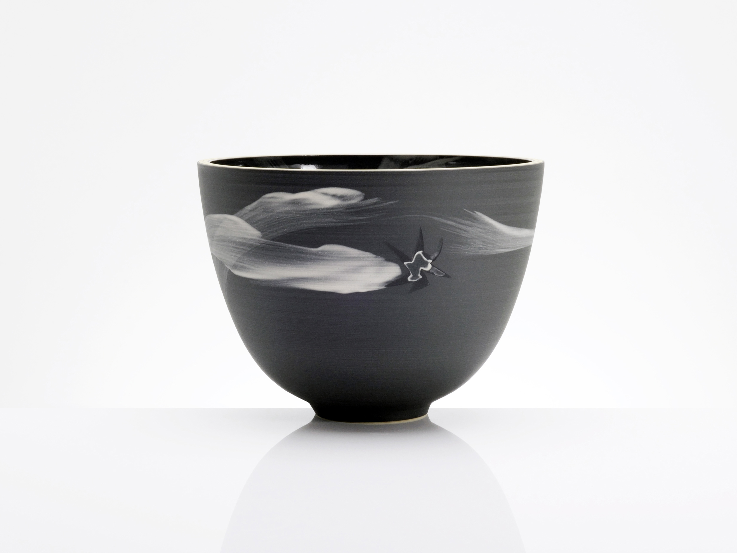 Black Starfigher Ceramic Bowl by Rowena Gilbert