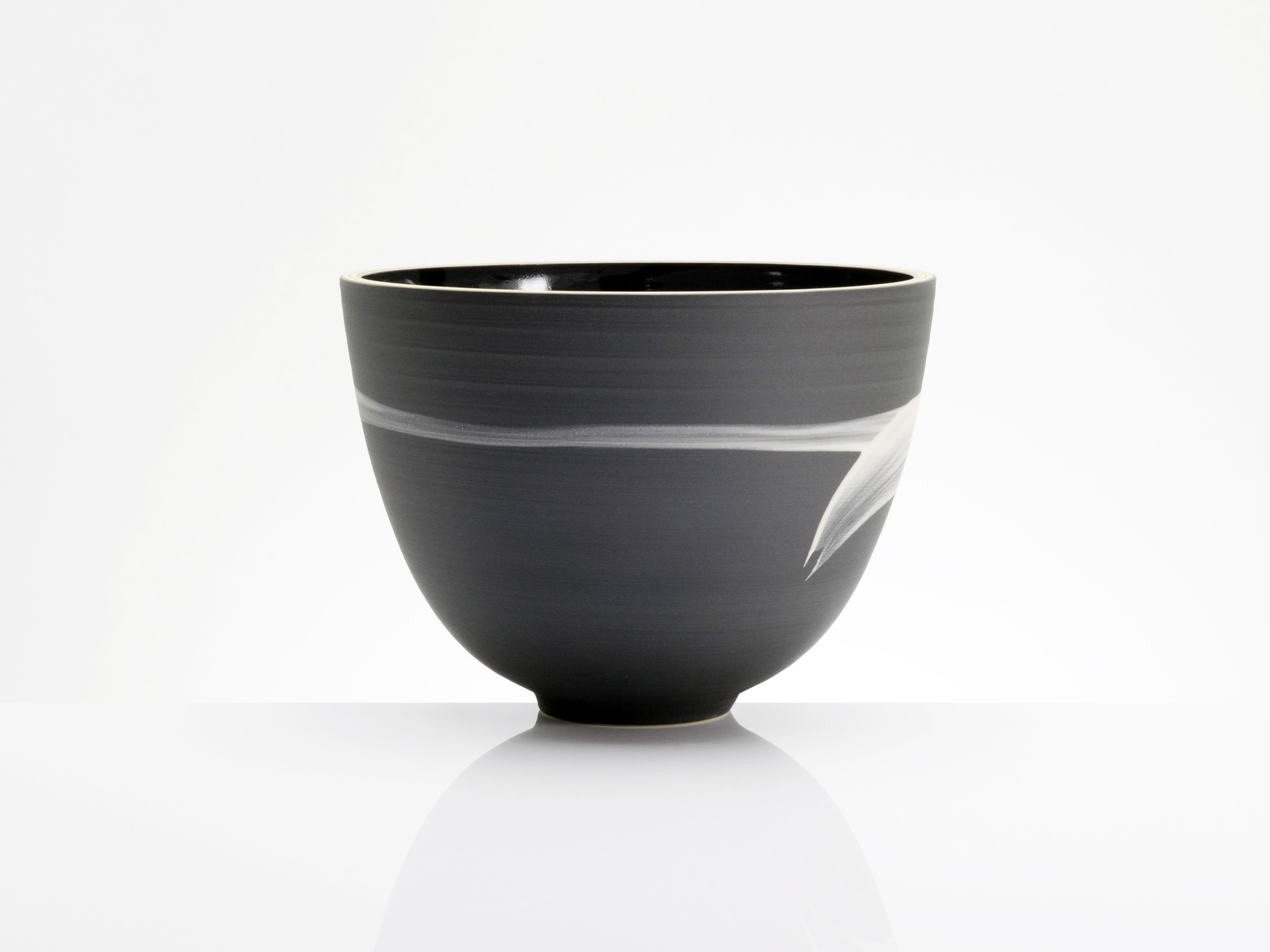 Simple Brush Stroke Charcoal Bowl by Rowena Gilbert