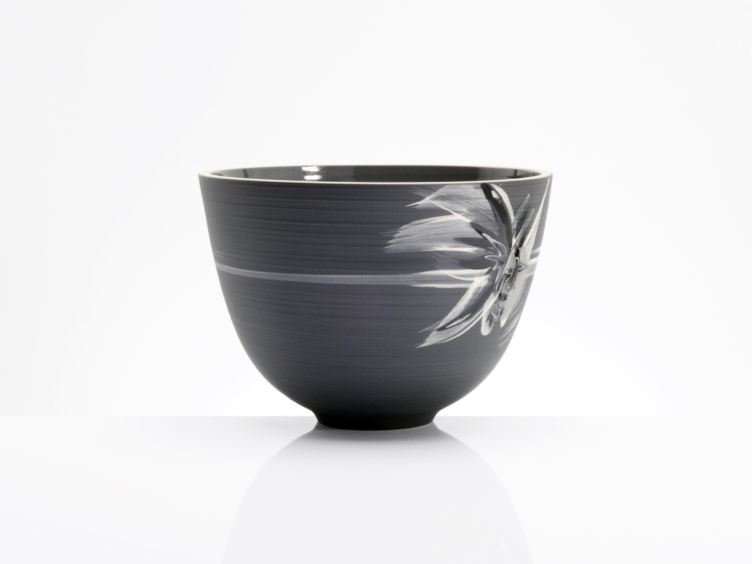 Charcoal Black Abstract Art Bowl by Rowena Gilbert