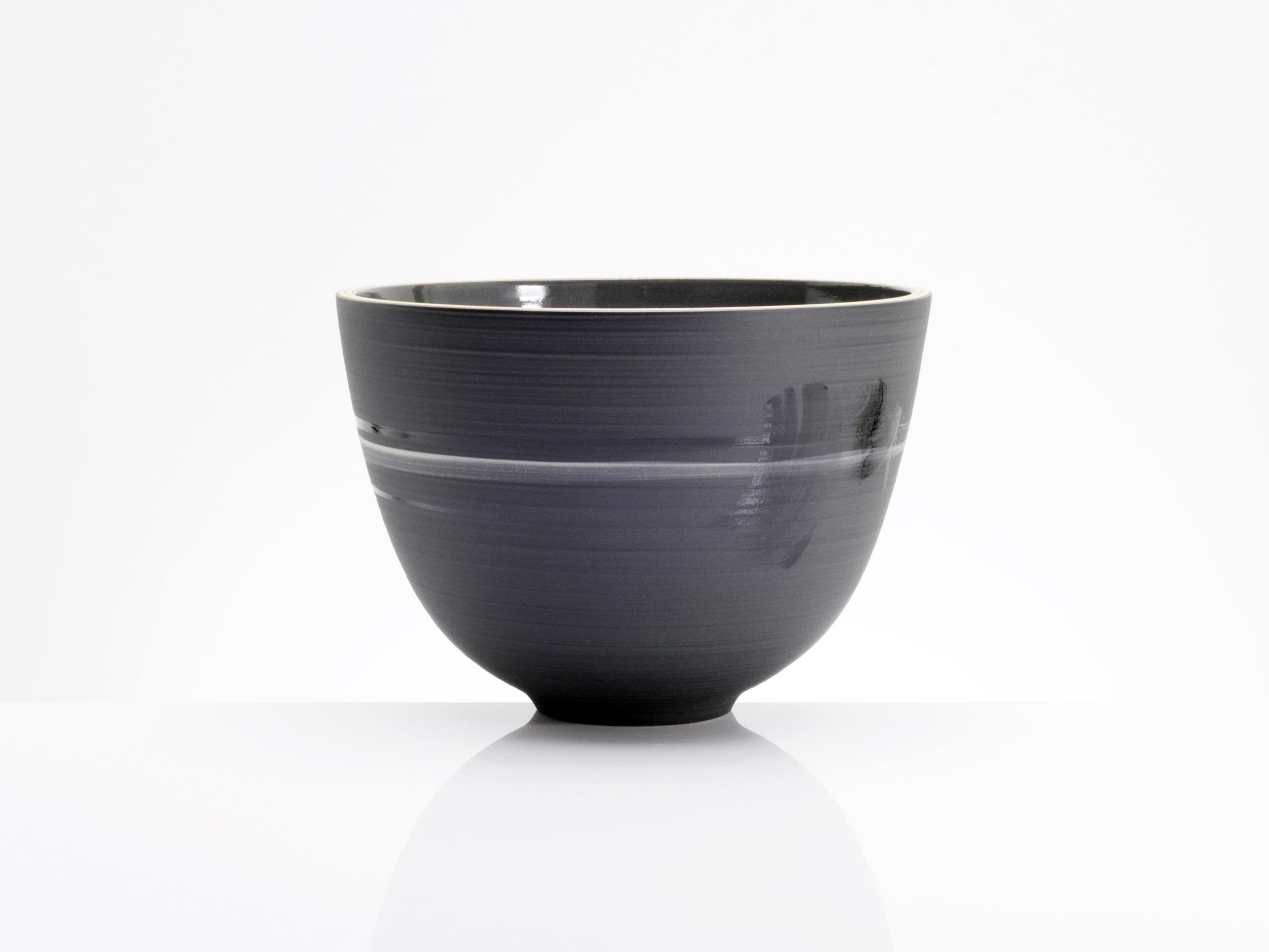 Elegant Harmony Black Ceramic Bowl by Rowena Gilbert